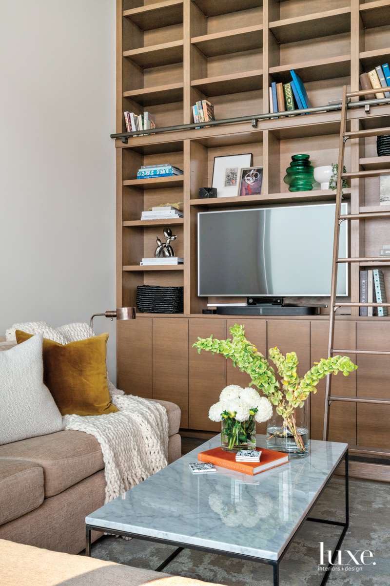 built-in wooden sectional west elm...
