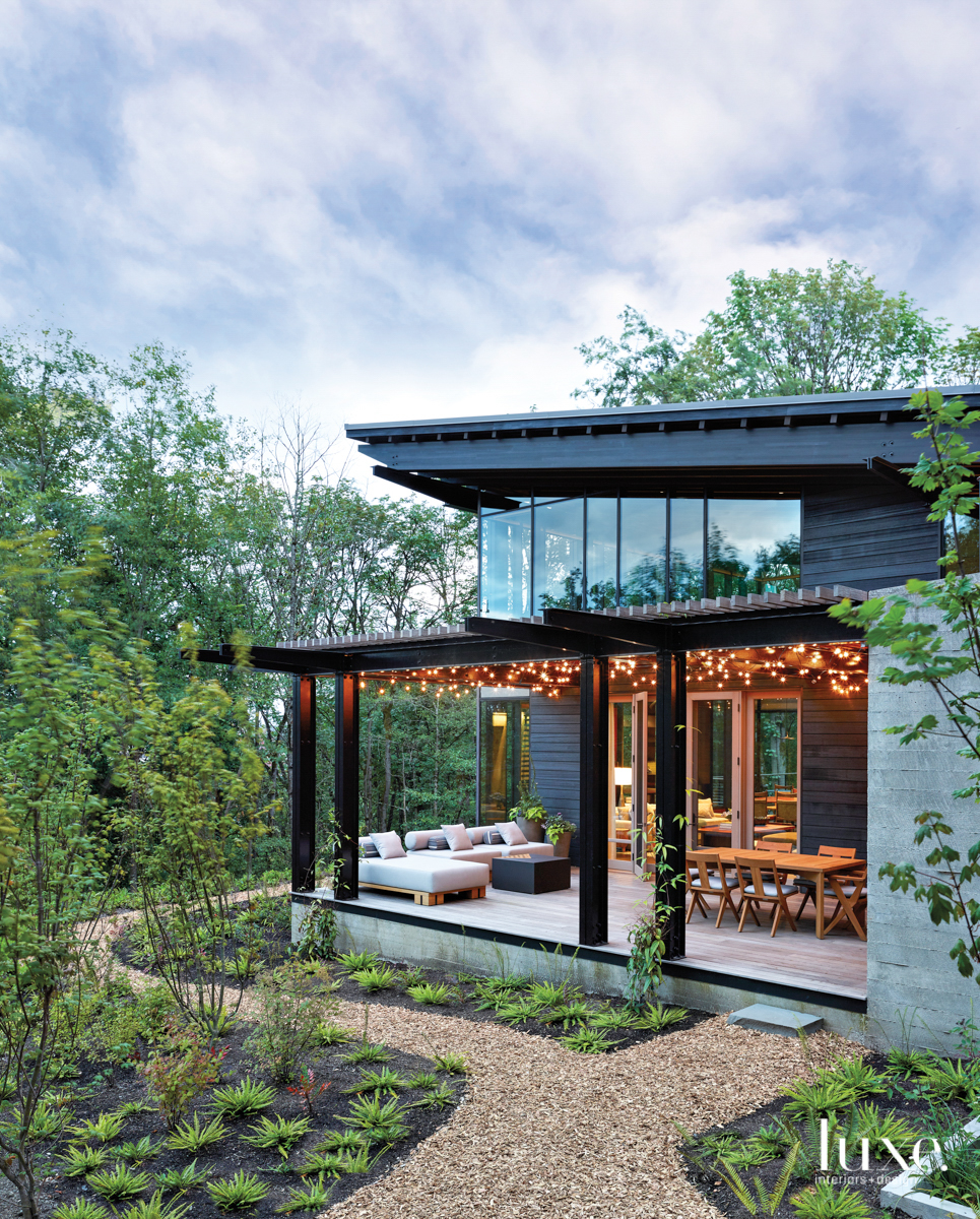 exterior of the backyard with...