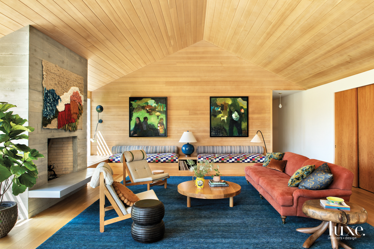 Living room with fiber wall-hanigng,...