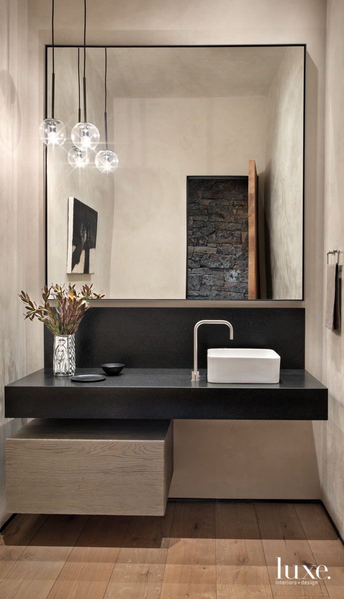 Powder room with square mirror