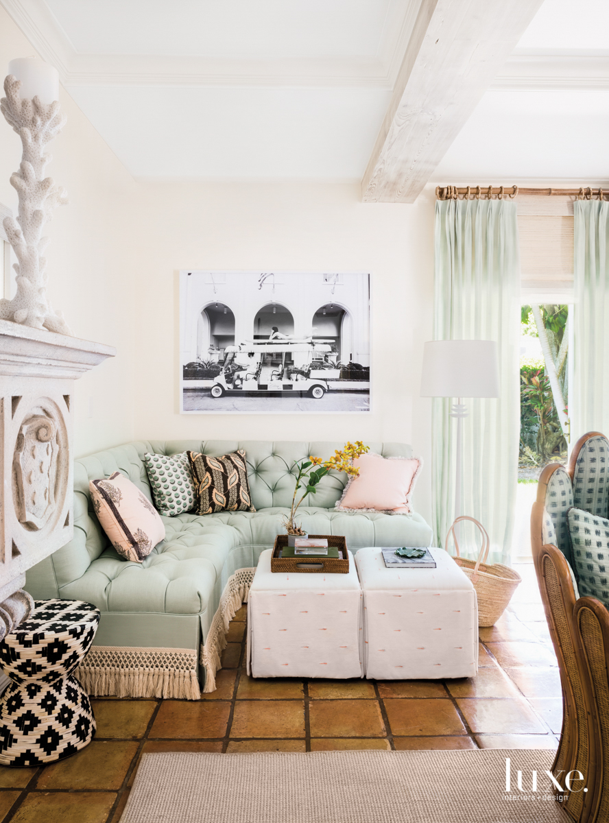 living area with mint banquette