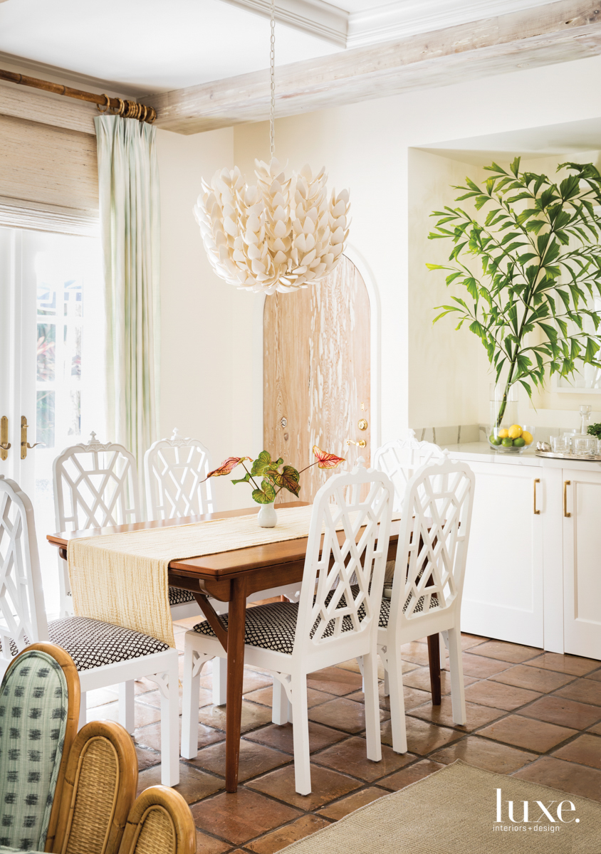 dining area with pendant, white...