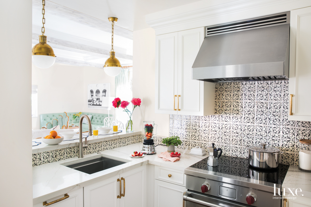 kitchen with backsplash tiles and...