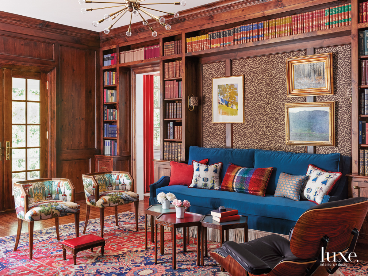 library with leopard print wallpaper,...