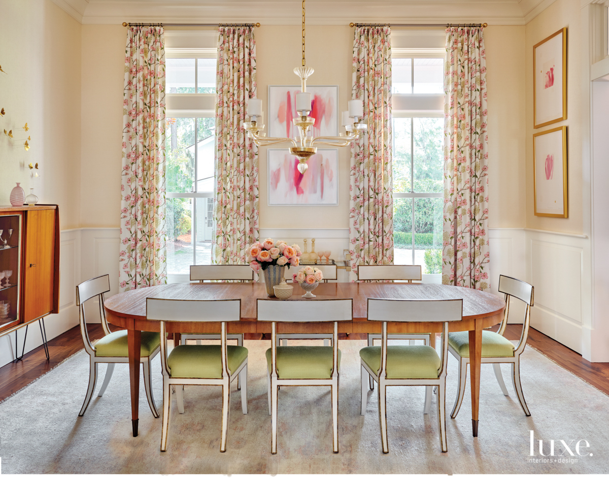 dogwood-print drapes in dining room...