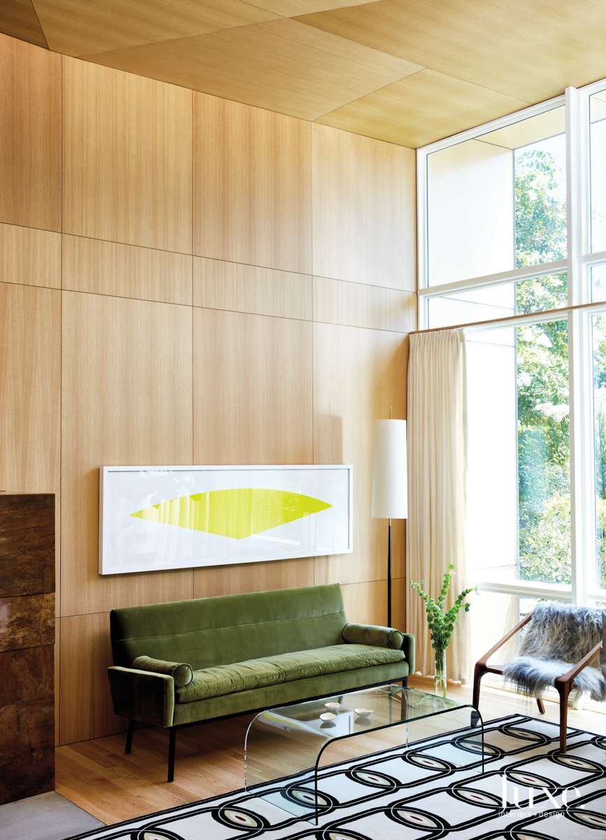 living room with modern wood...