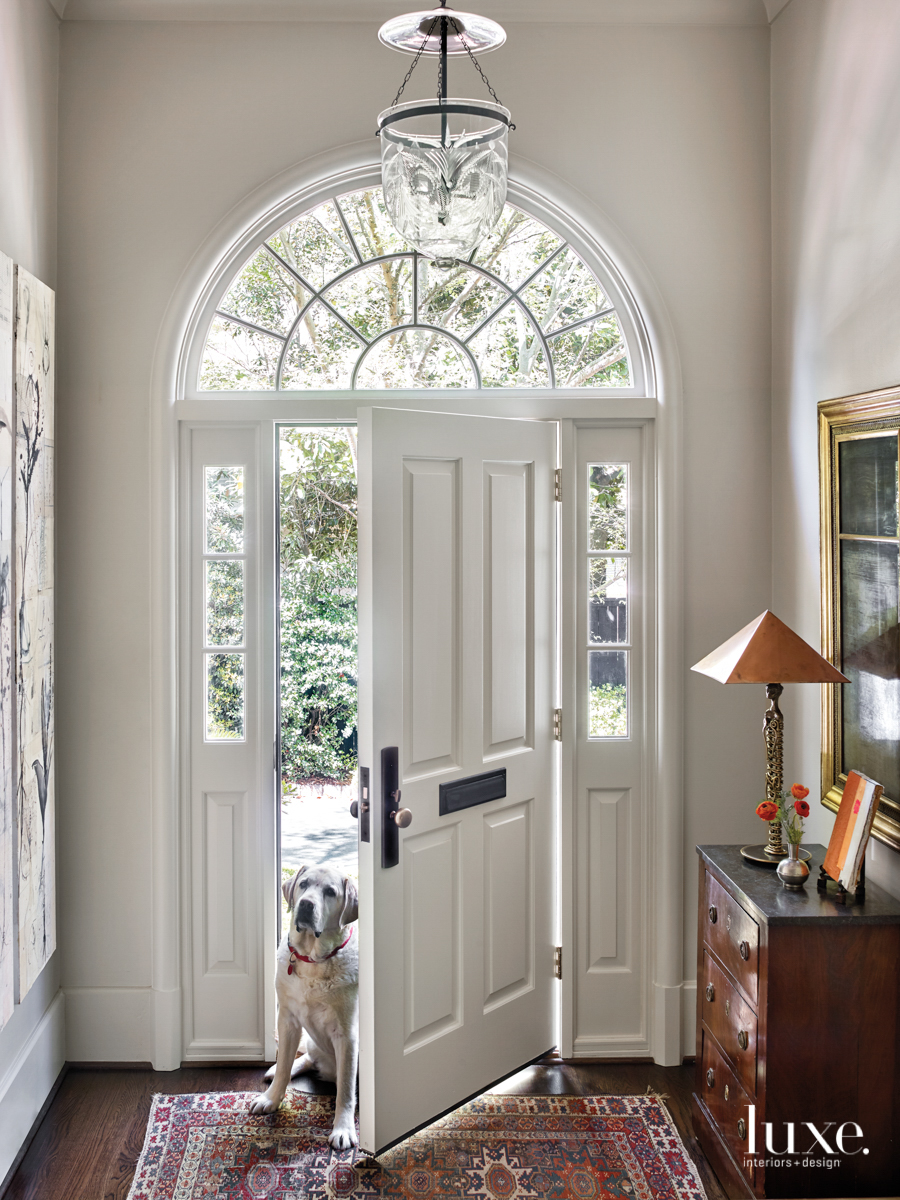 open door with windows and...