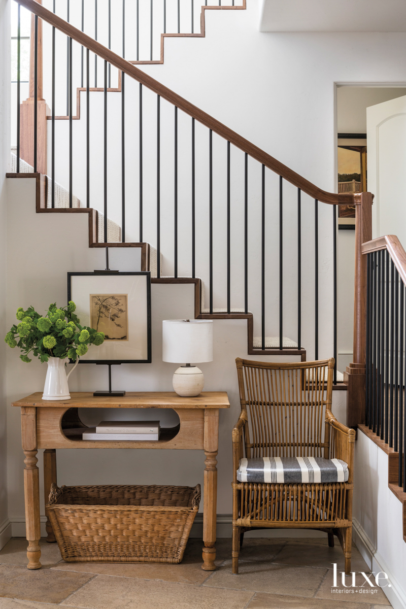 stairs and handrail featuring a...