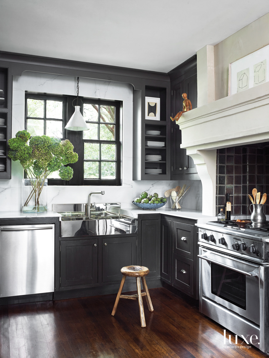 Houston kitchen with dark cabinetry...
