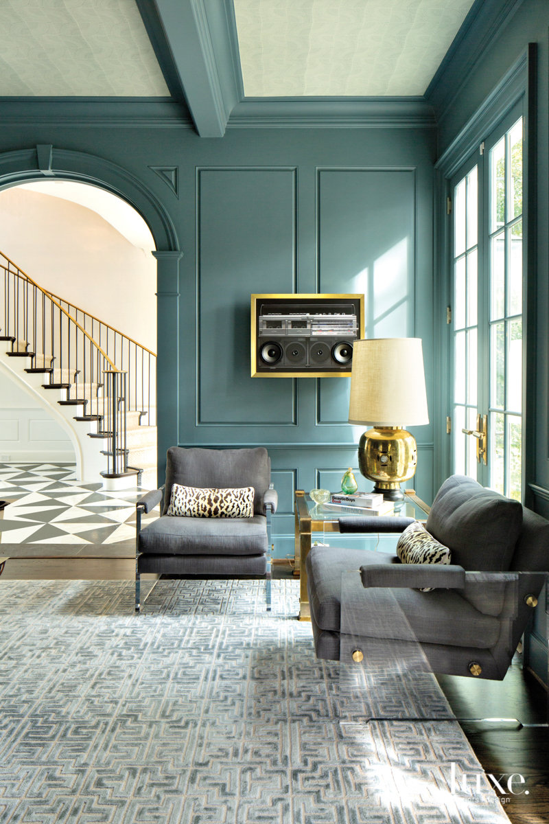 Stylish billiards room painted Sherwin-Williams Labradorite