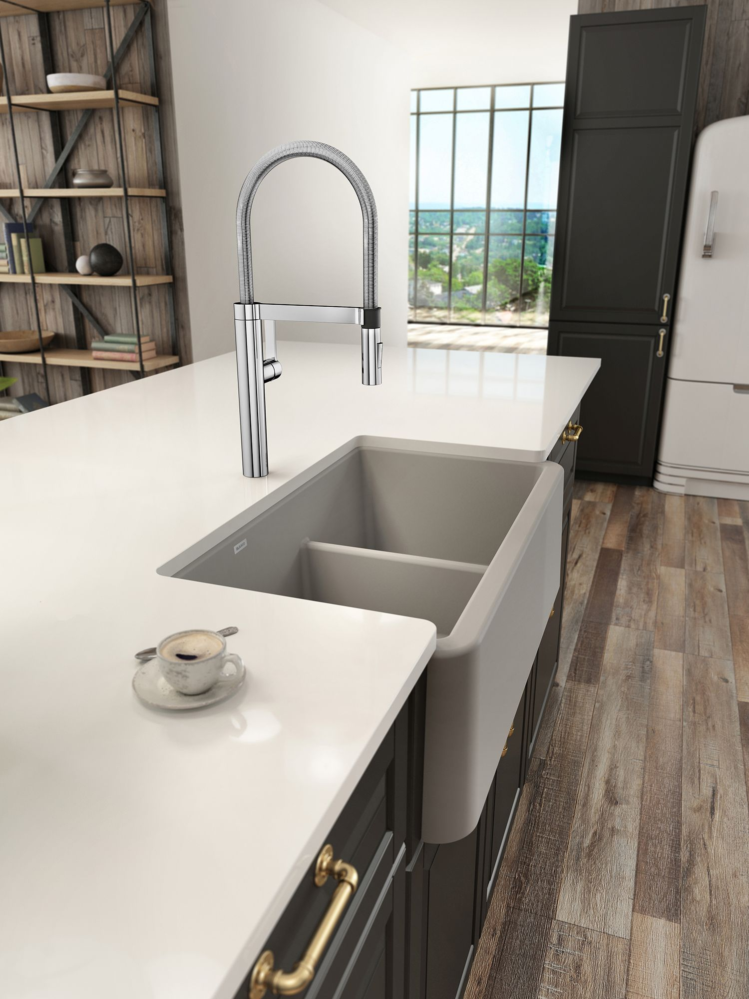 blanco gray sink on white island with teacup