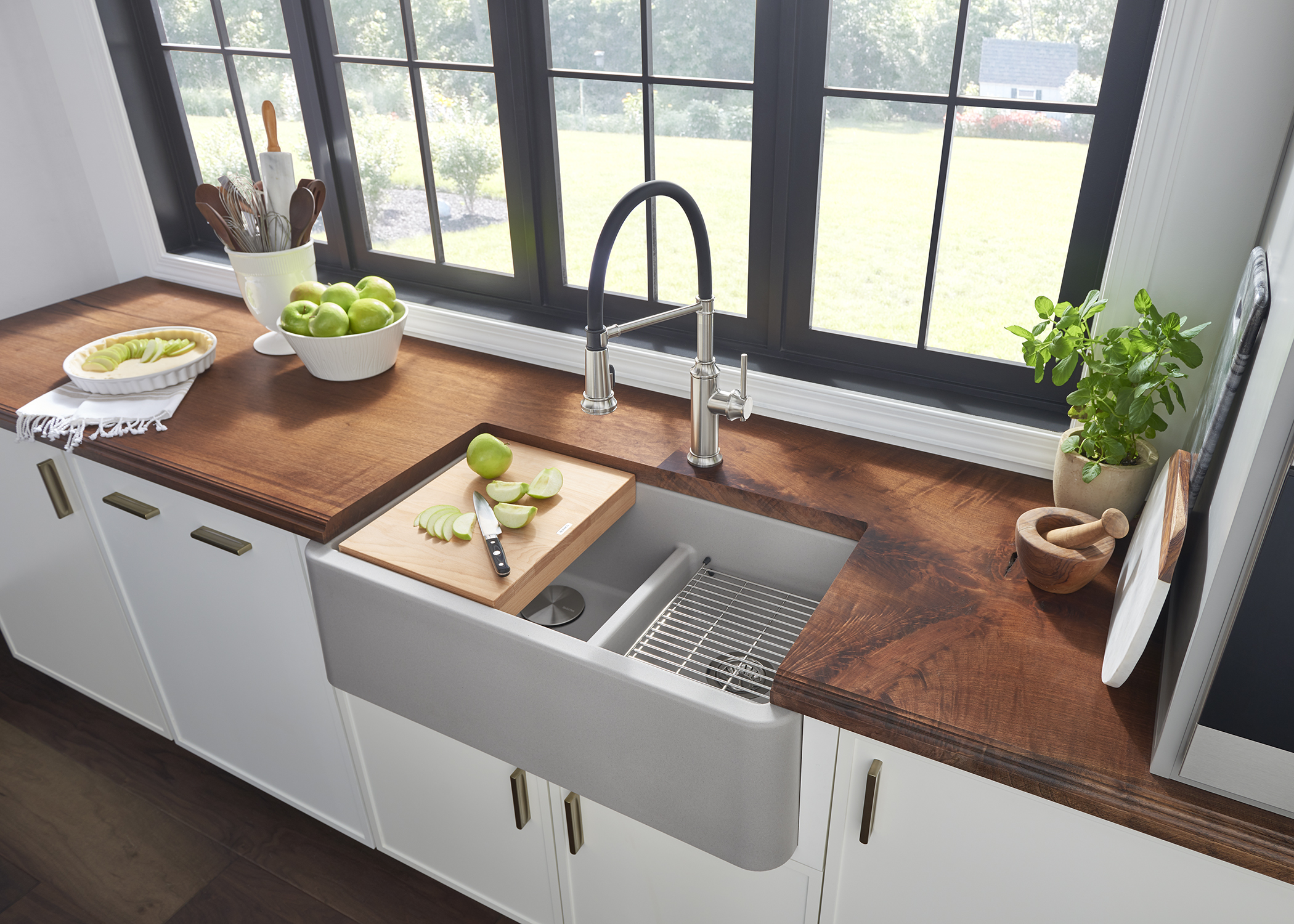 blanco gray sink with cutting board connected