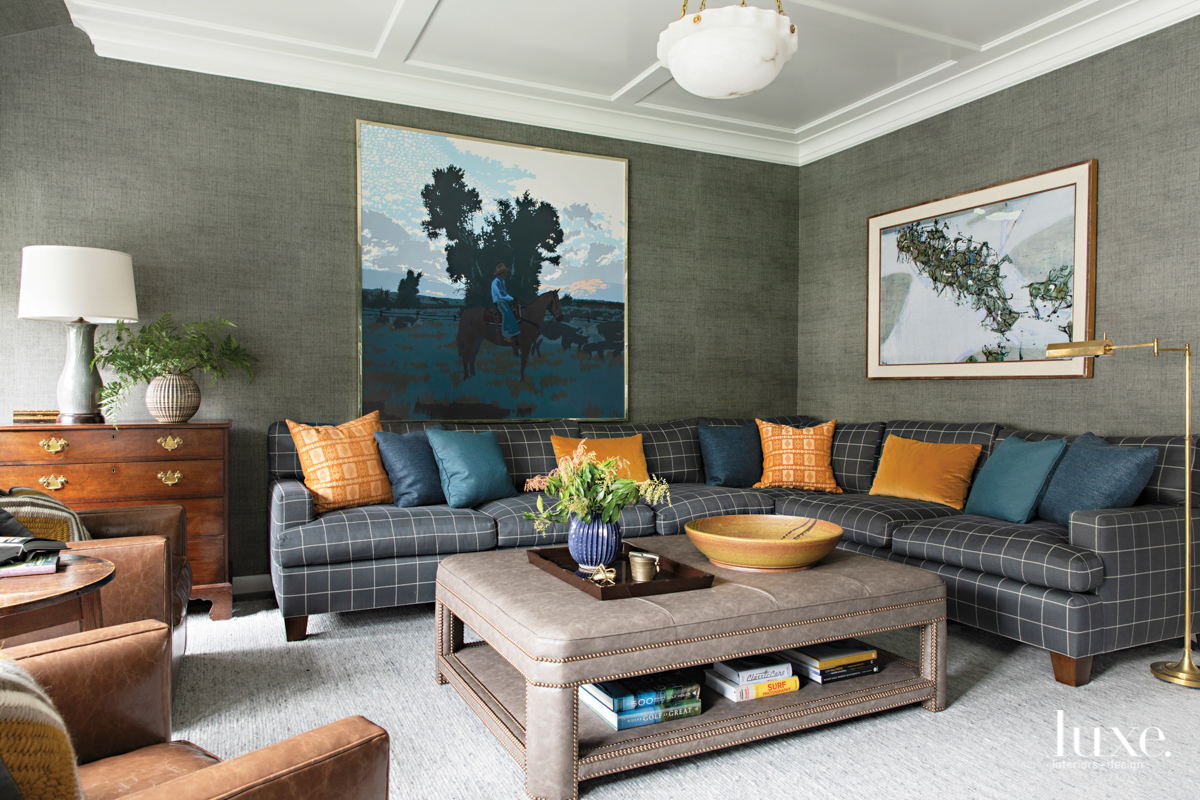 living room with gray wallpaper...