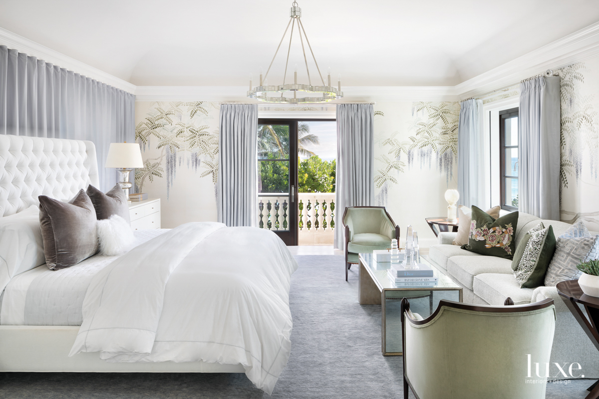 white guest bedroom with gray...