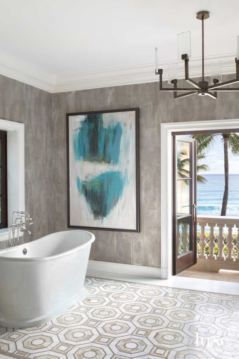 gray bathroom cast iron tub
