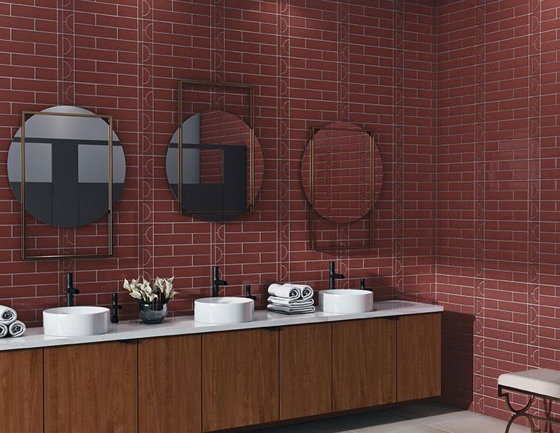 cursive by crossville oxblood tiles bathroom