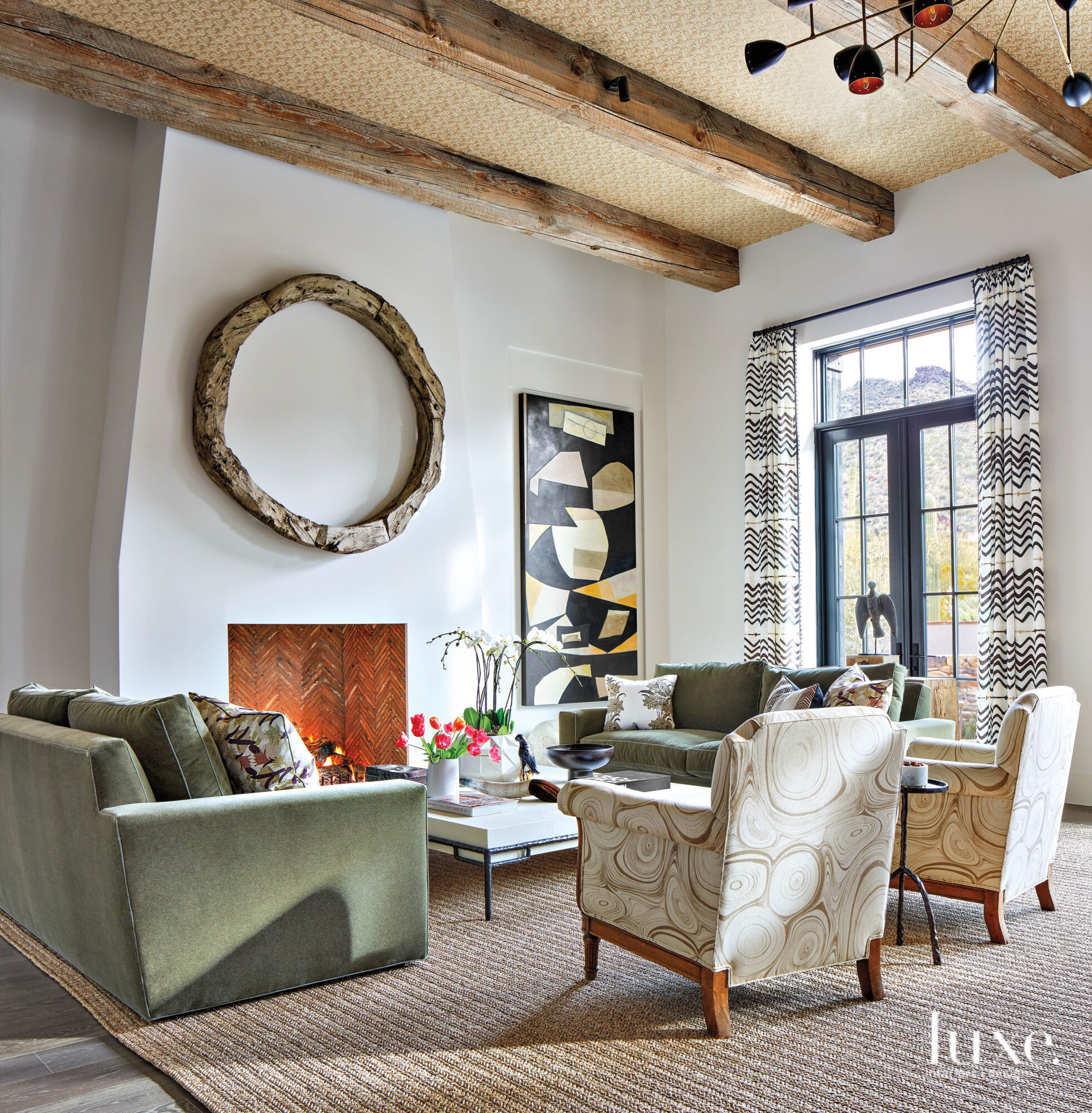 Wooden beams and patterned furniture...