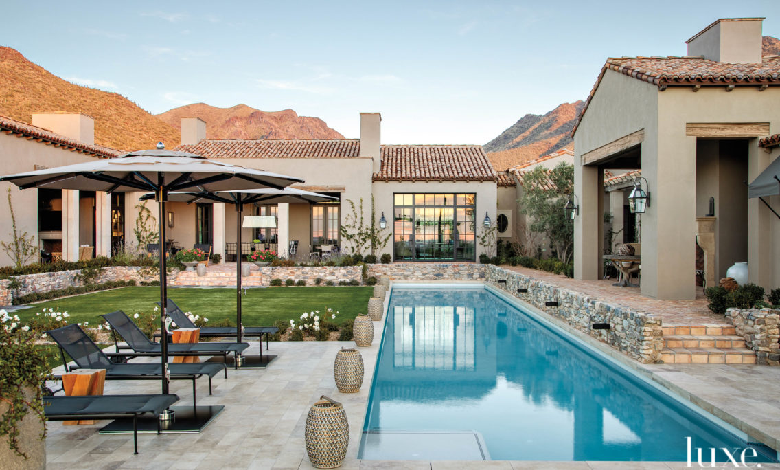 A Stunning Mountain Backdrop Elevates The Luxe Factor Of This Mediterranean-Style Arizona Villa