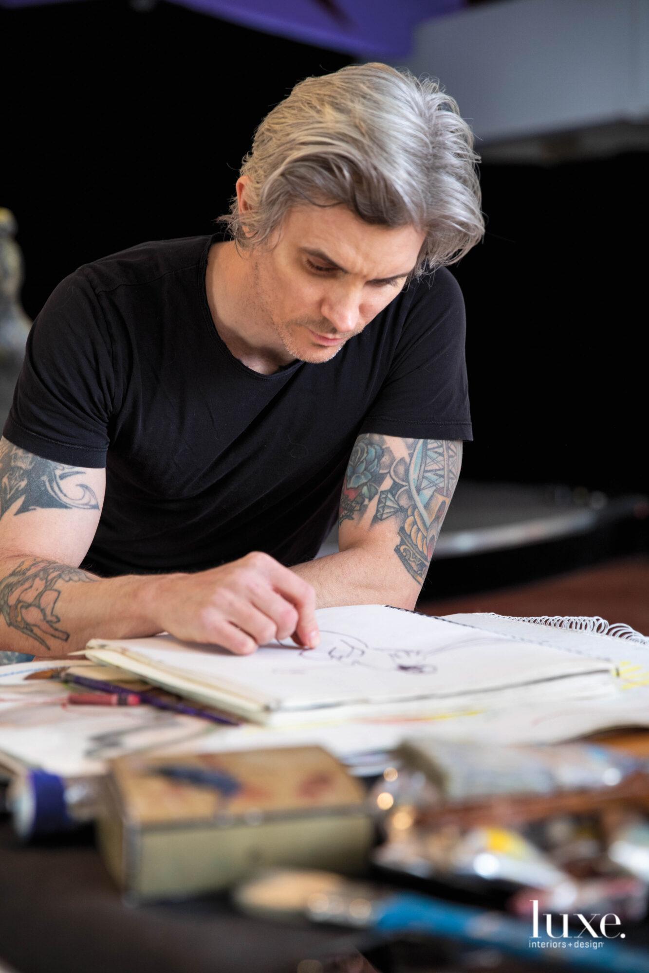 Damian Gomez at work in his studio