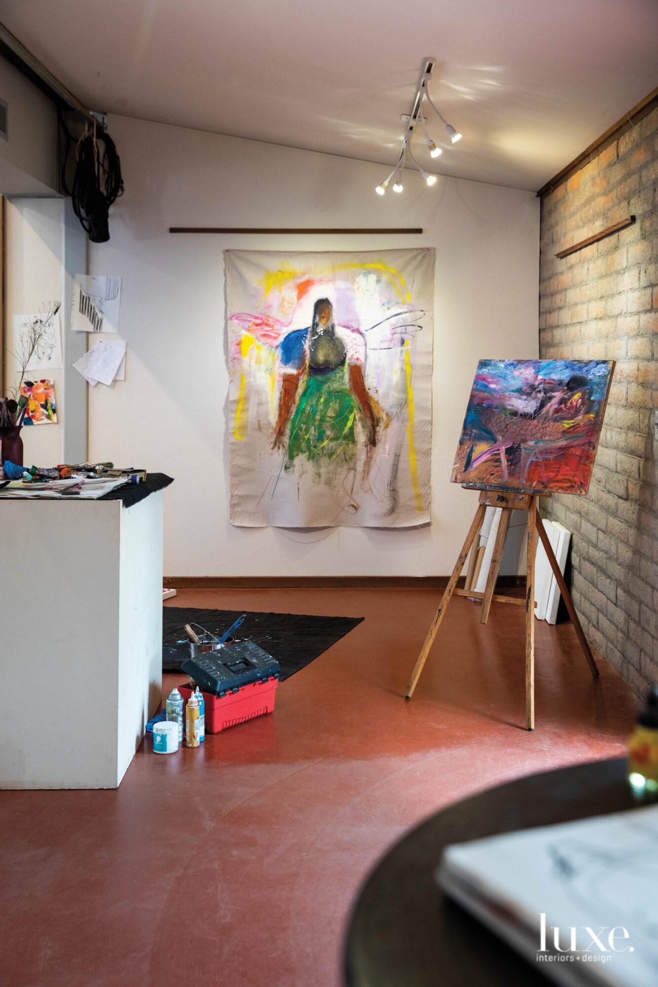Paintings in the studio.