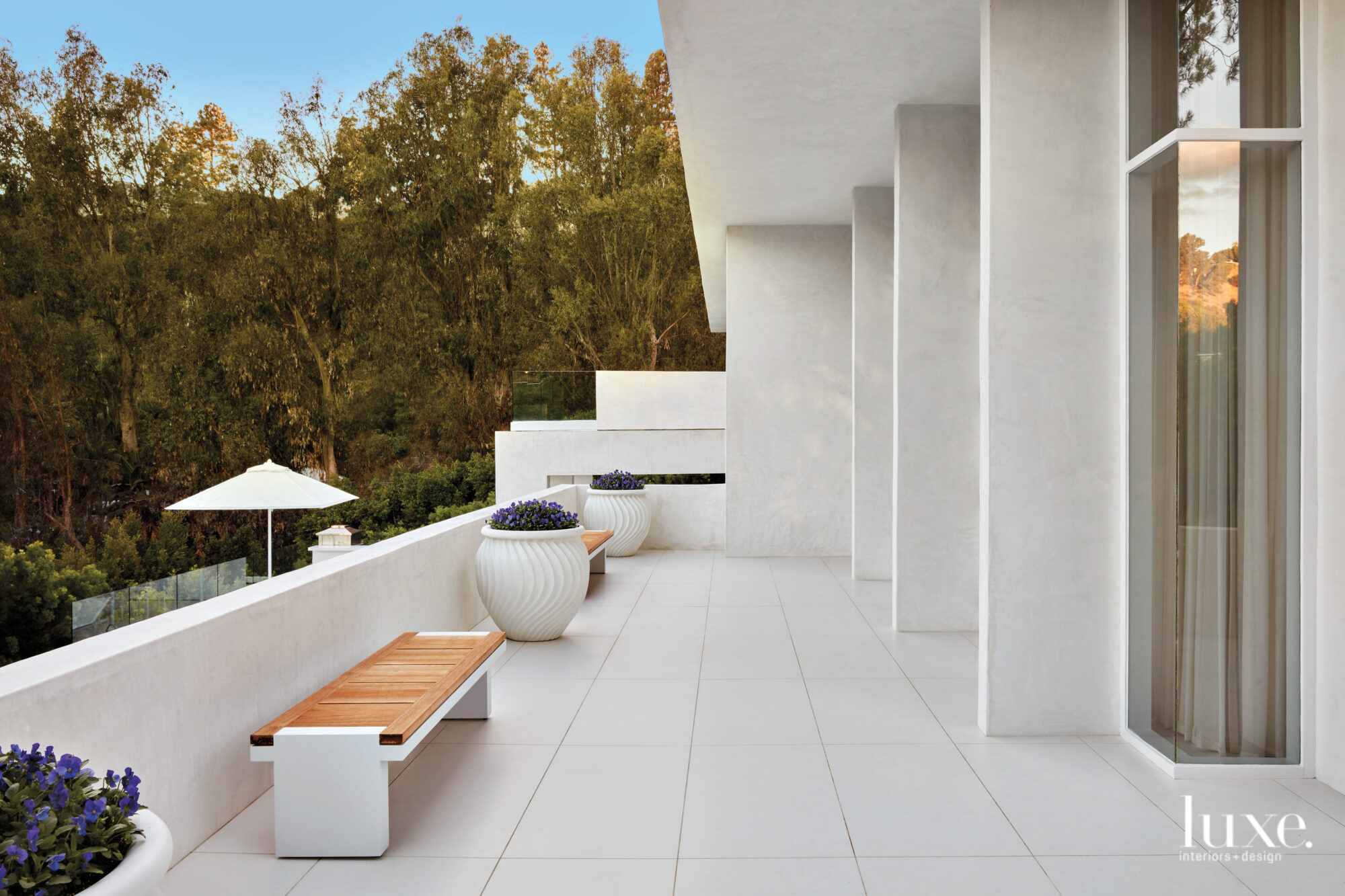 Exterior terrace shot with bench...