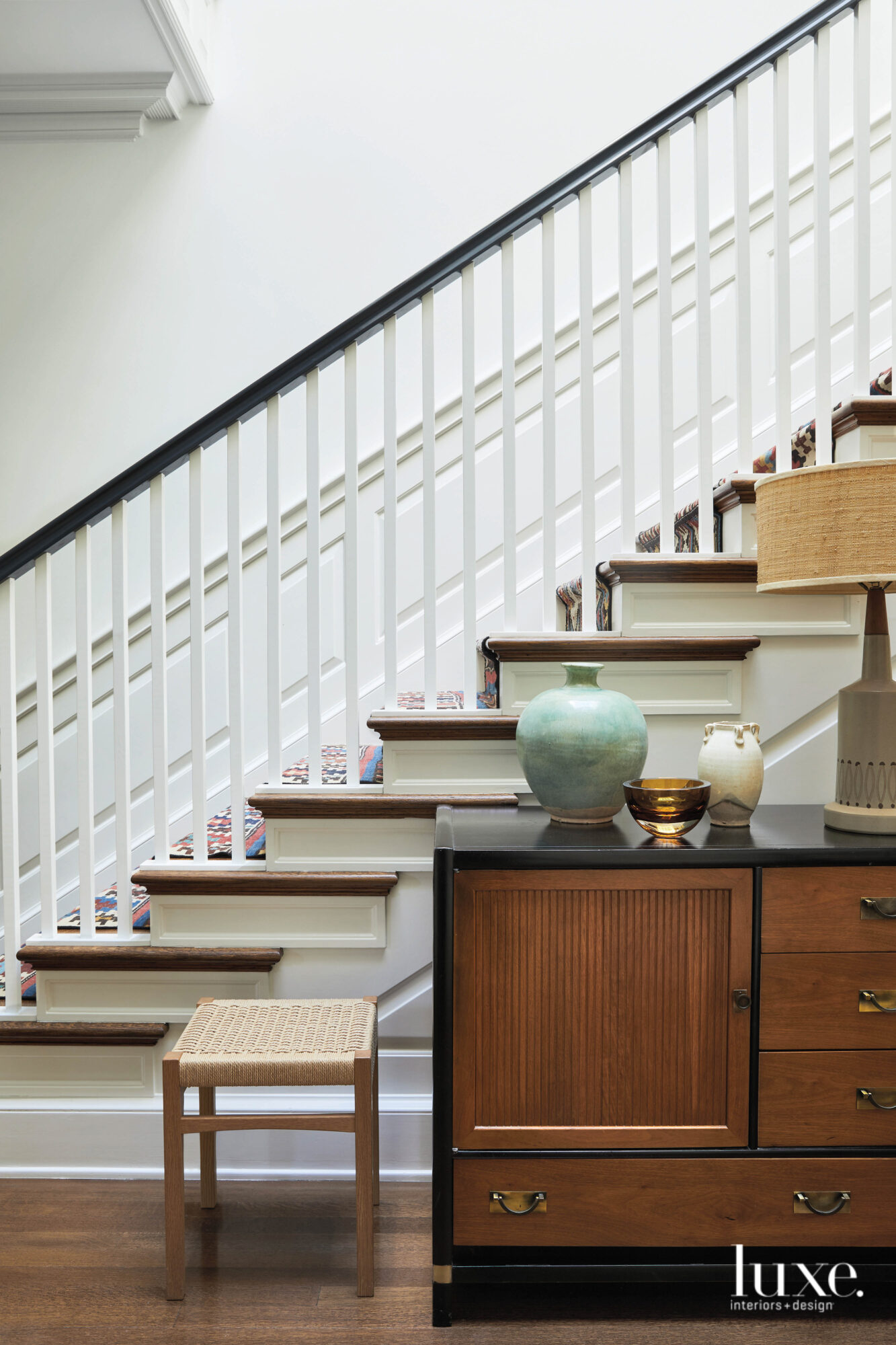 A simple staircase with a...