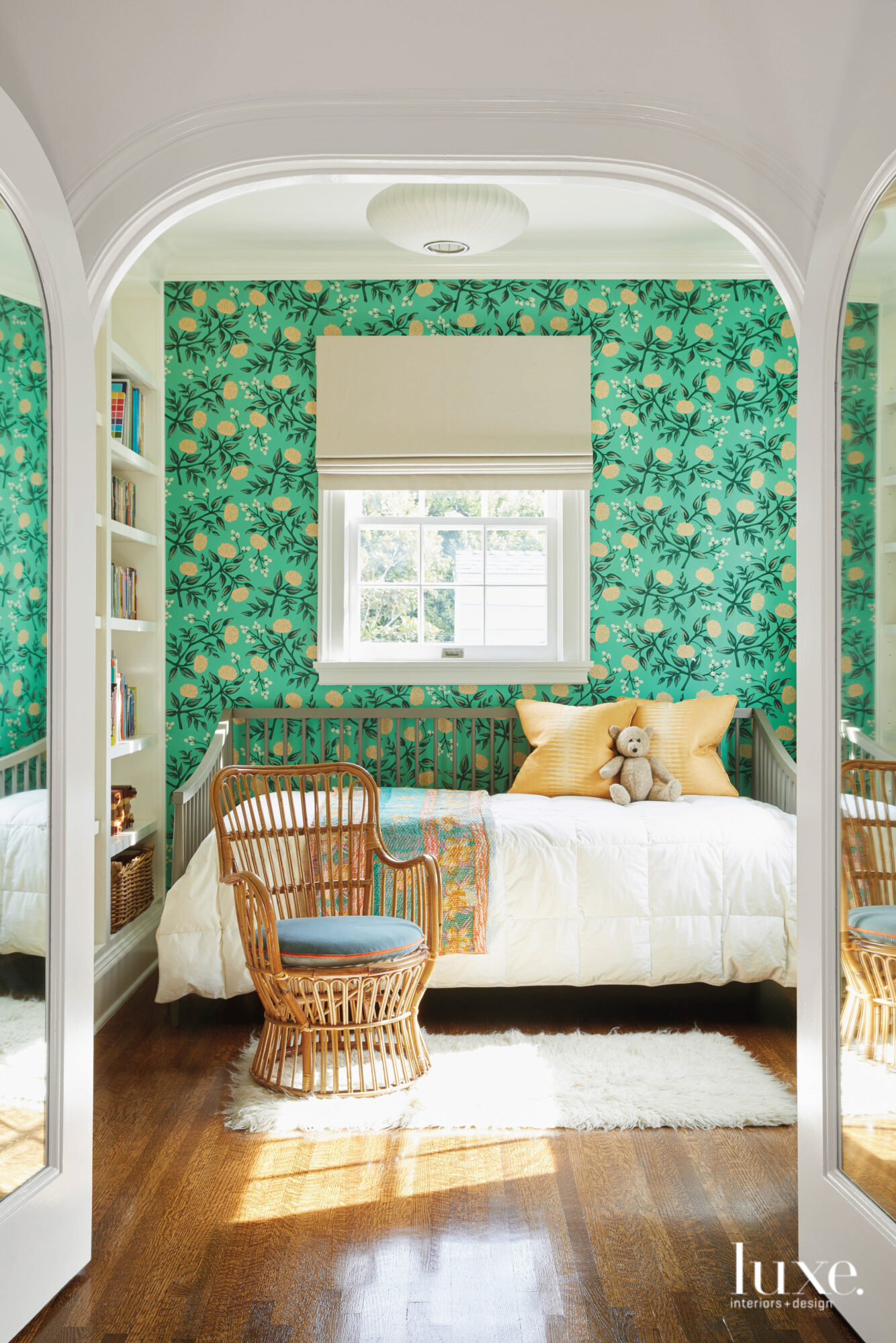 Child's bedroom with bright floral...