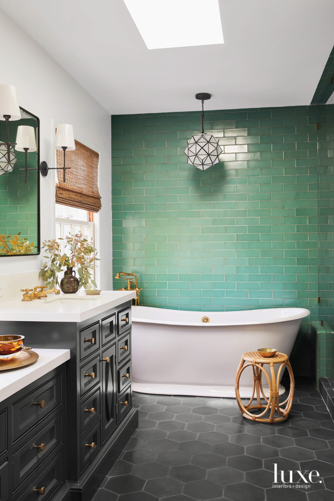 Bathroom with green, brick-shaped tile...