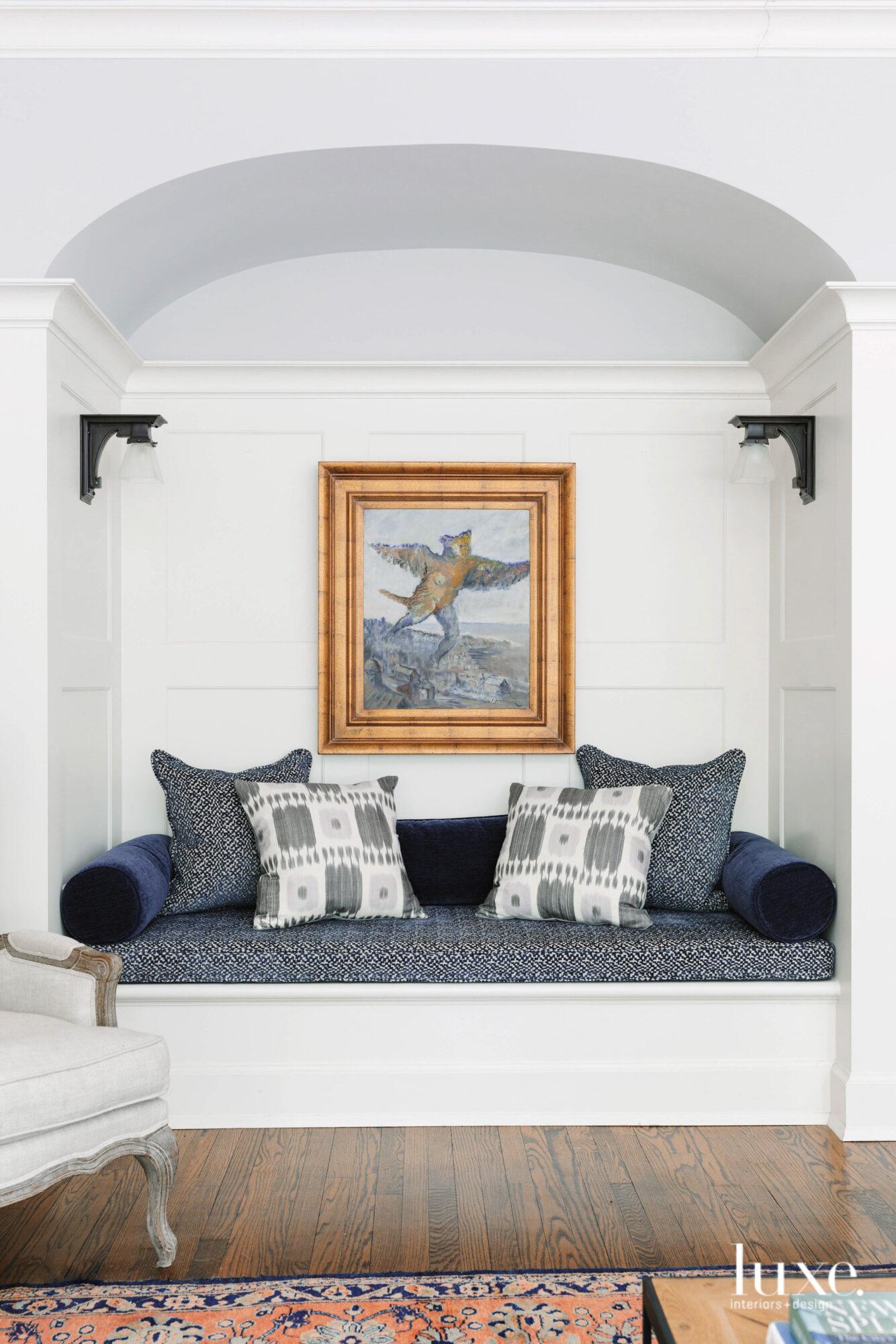 Navy blue fabrics adorn a...