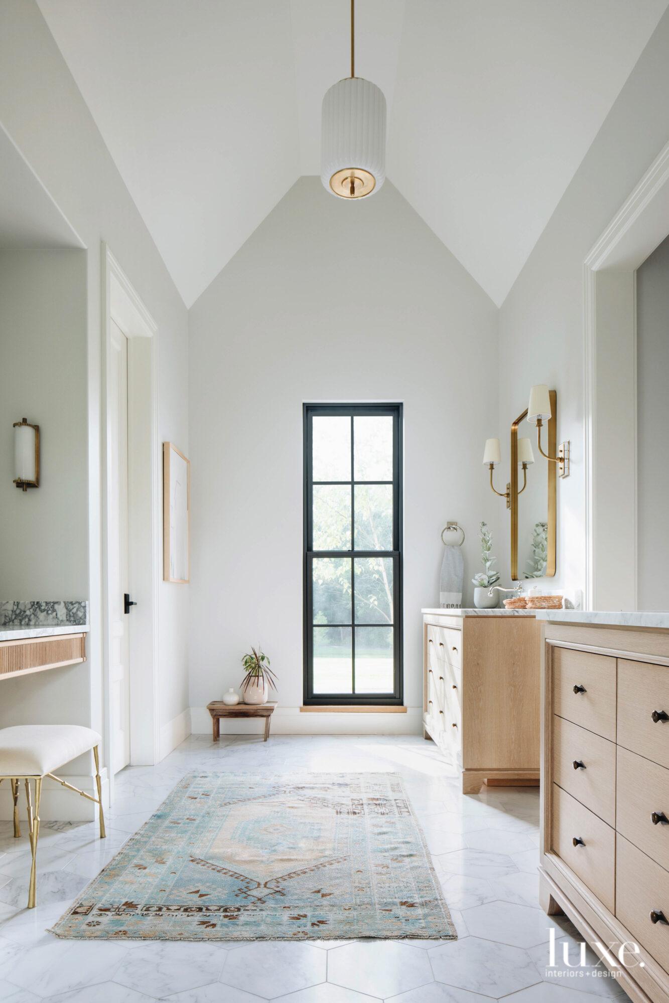 White oak vanities match perfectly...