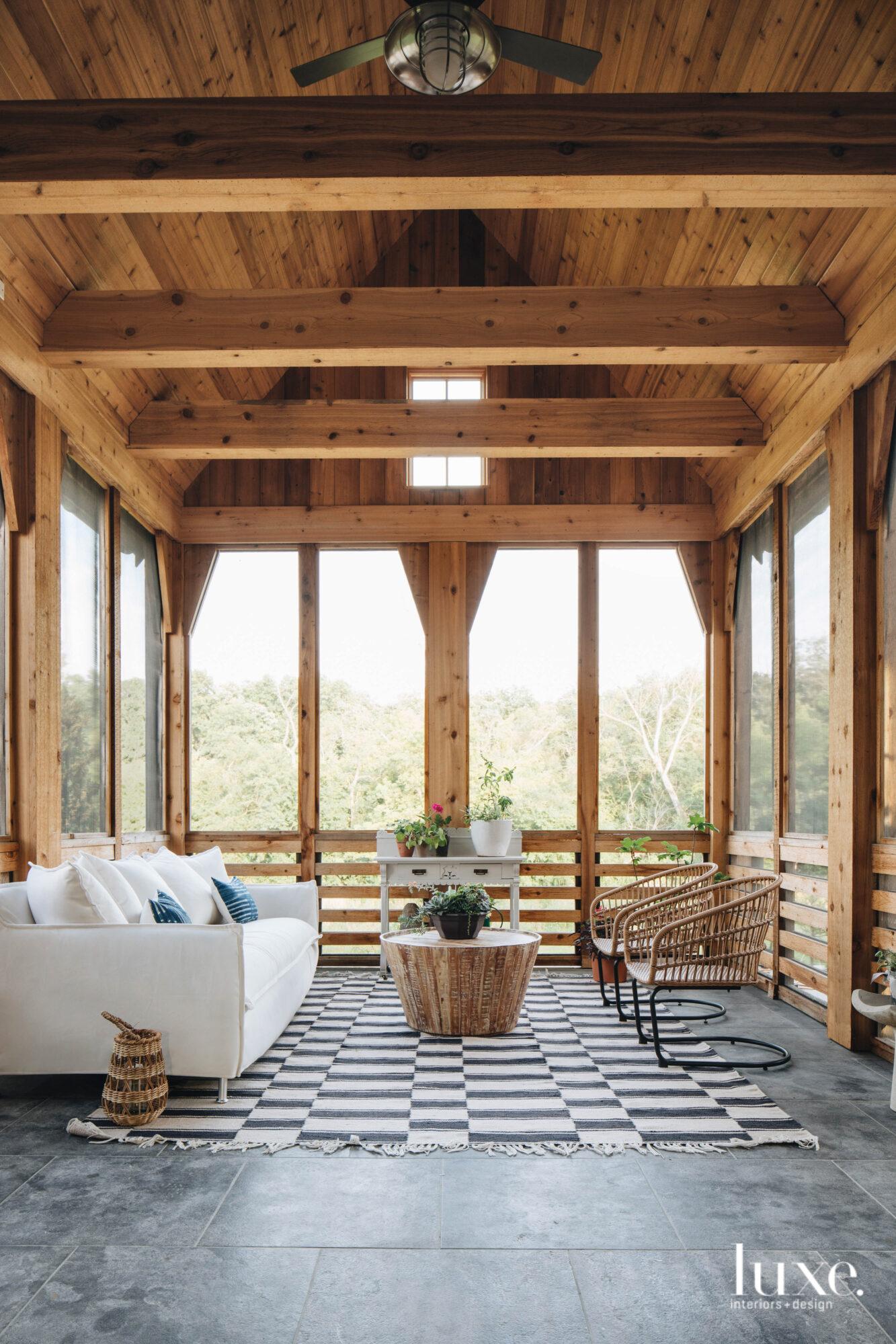 An indoor-outdoor room is framed...