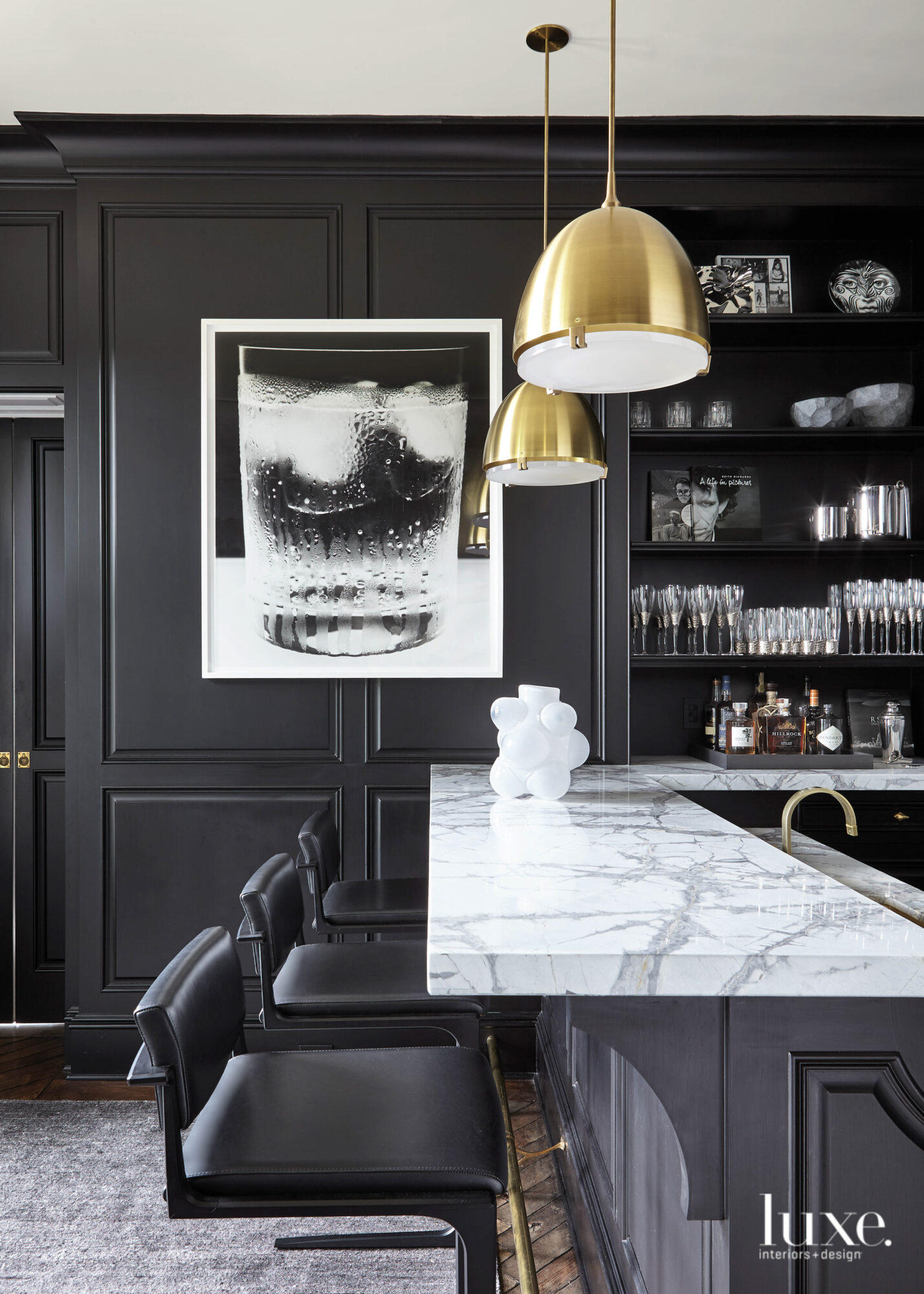 moody black bar with marble...