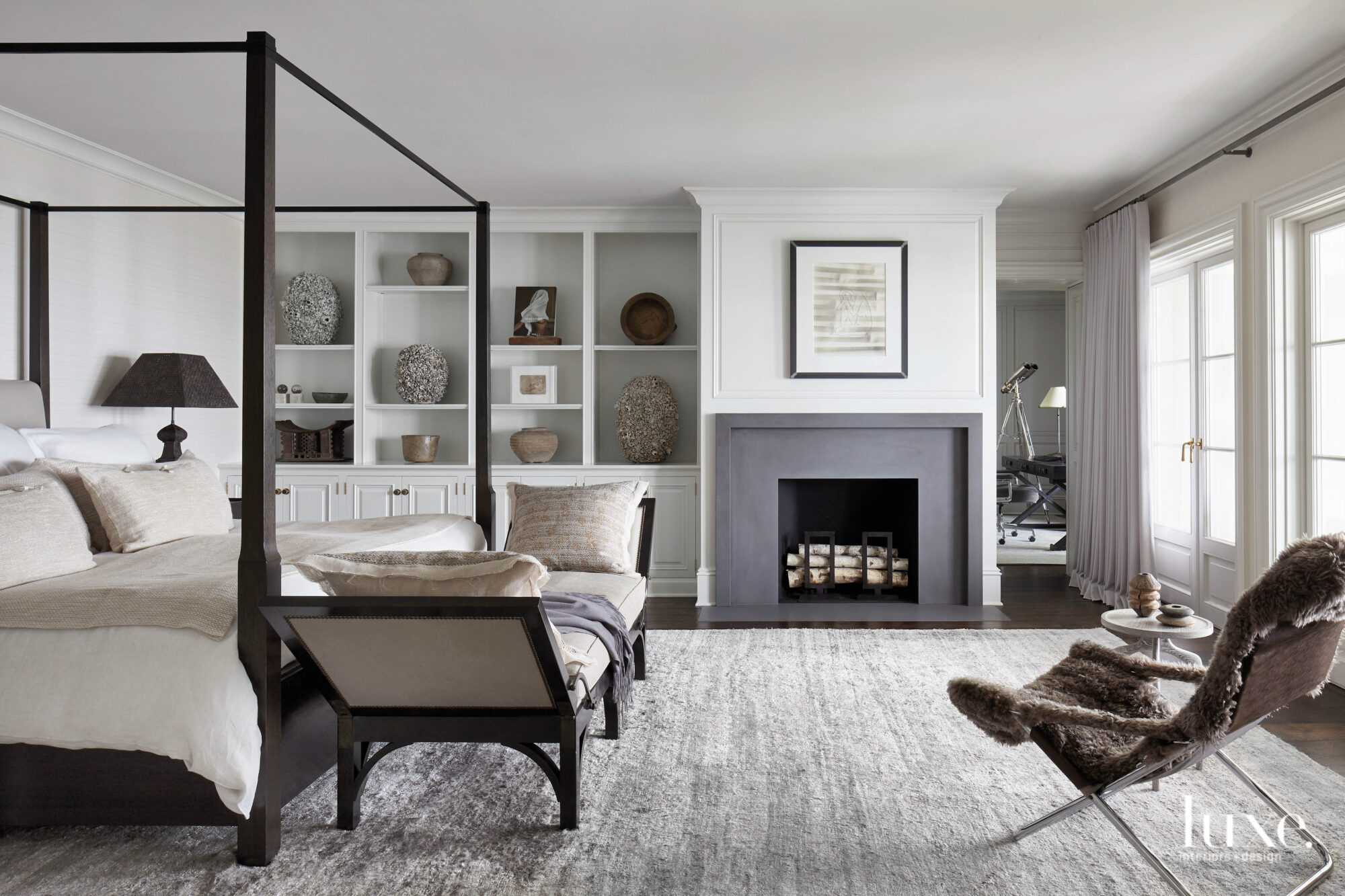white and gray master bedroom...