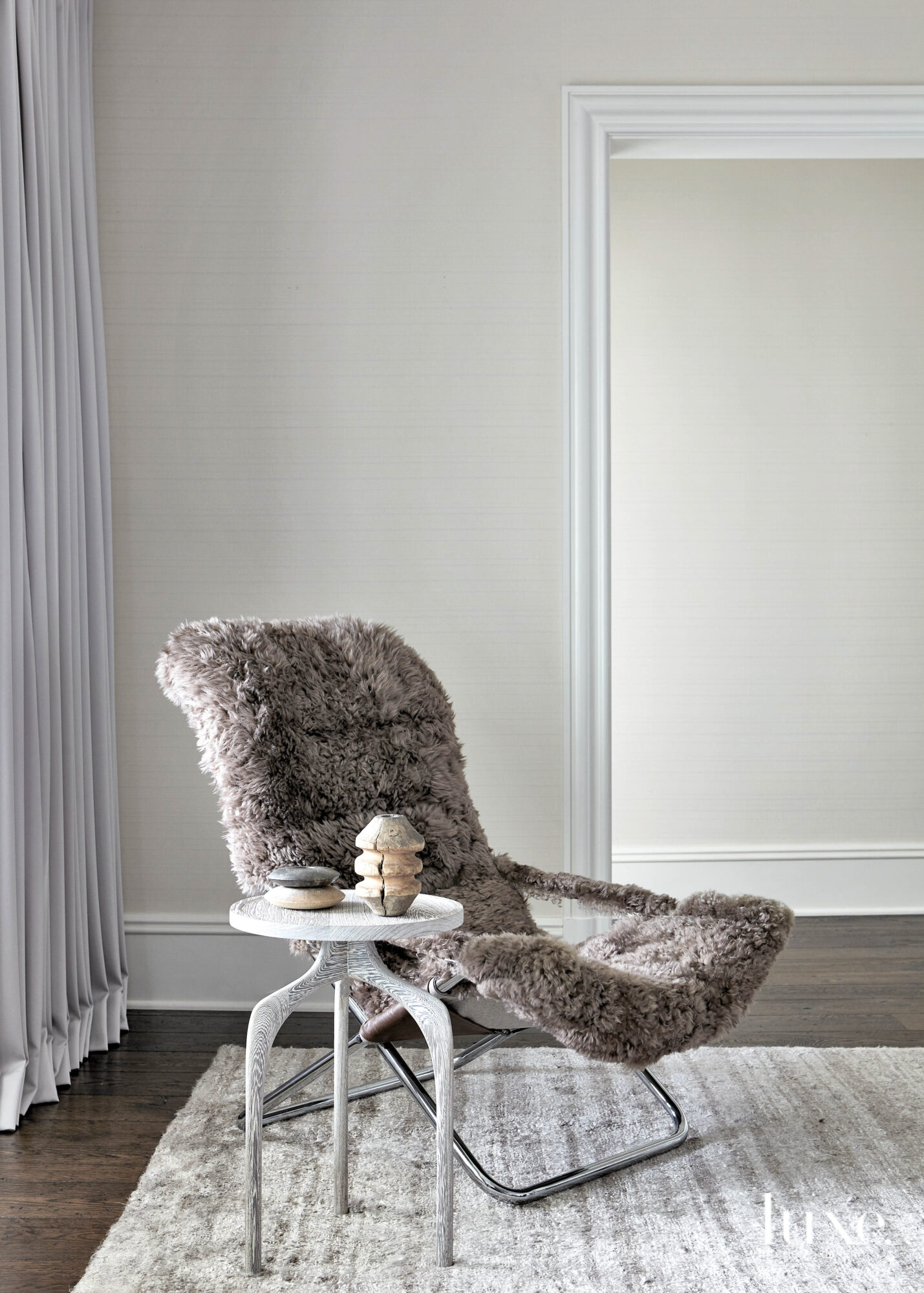 gray furry chair seating area...