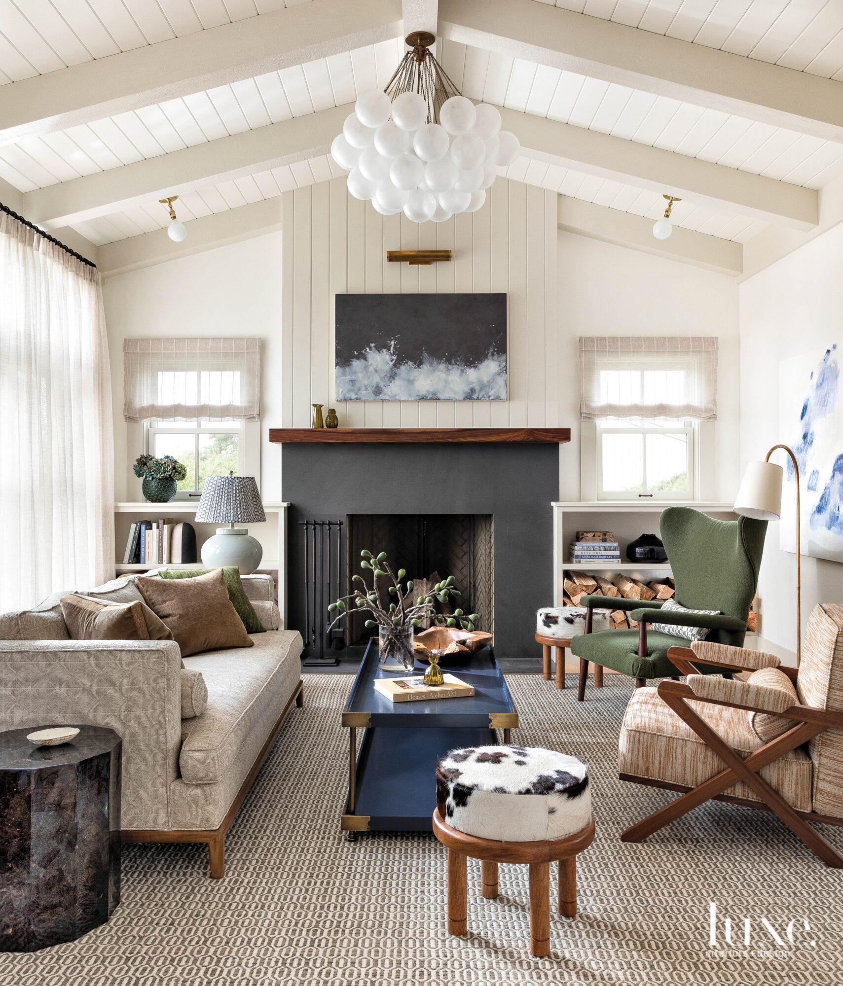 living room facing fireplace