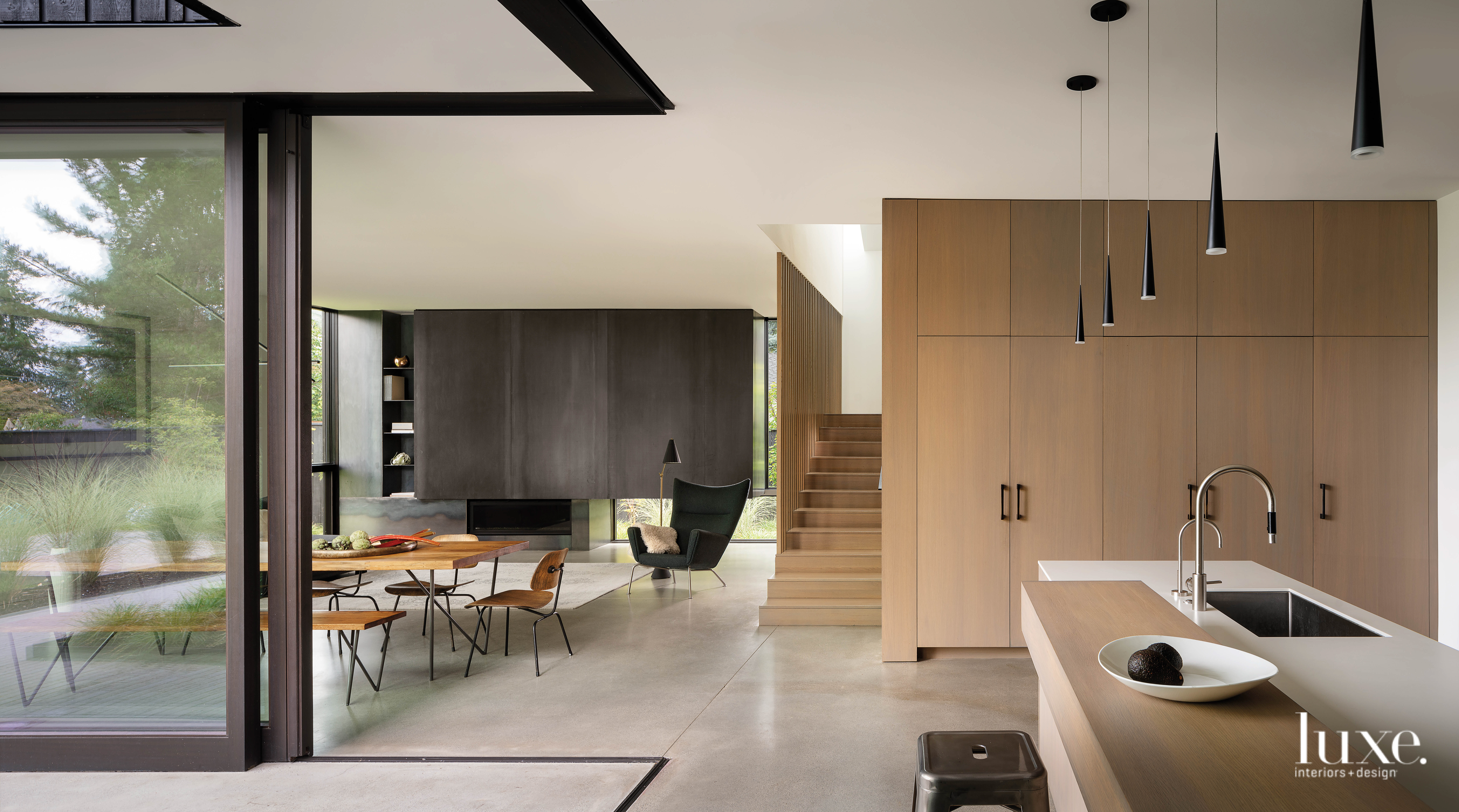 View of dining, living and...