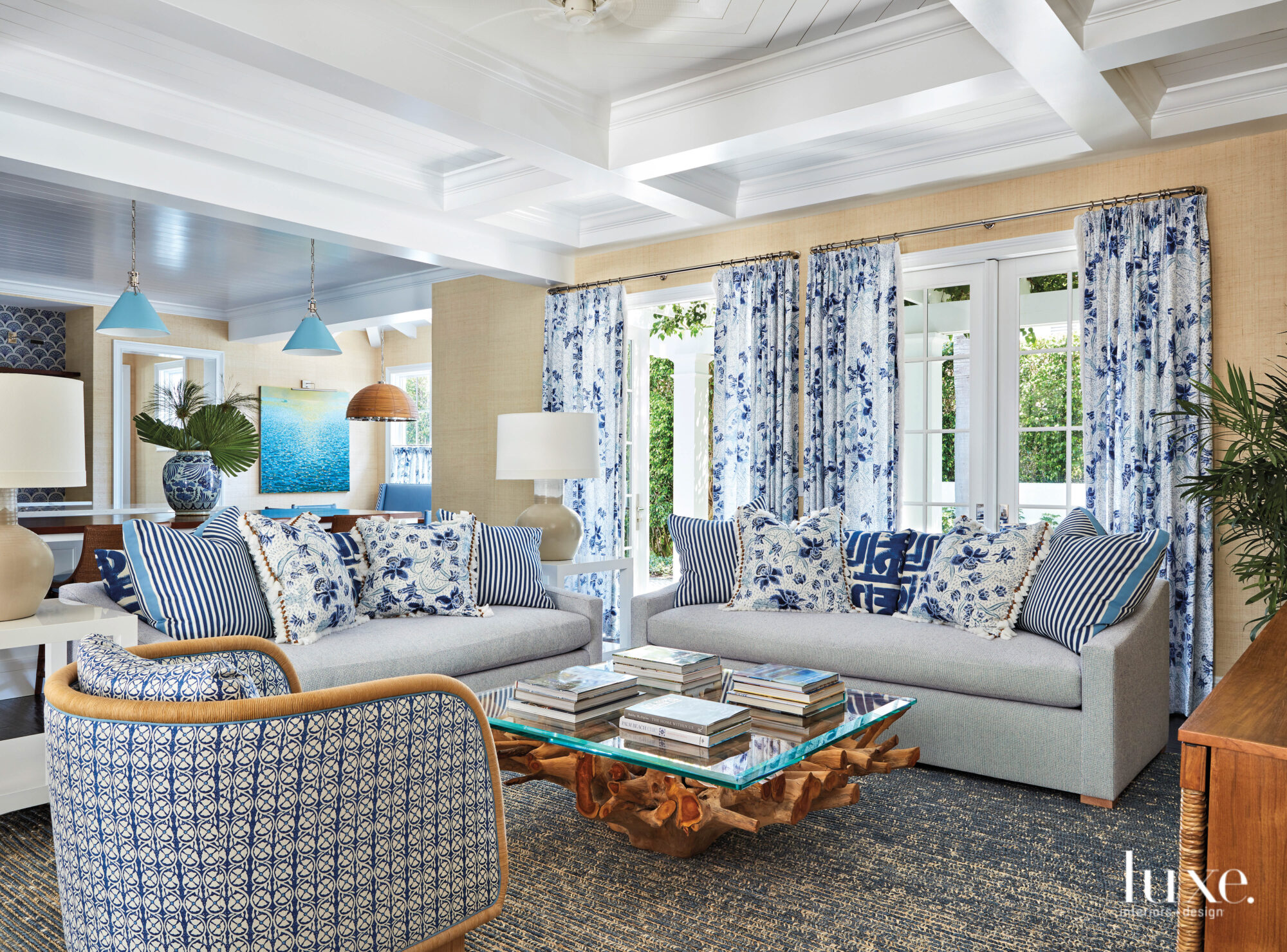 Family area with blue patterned...