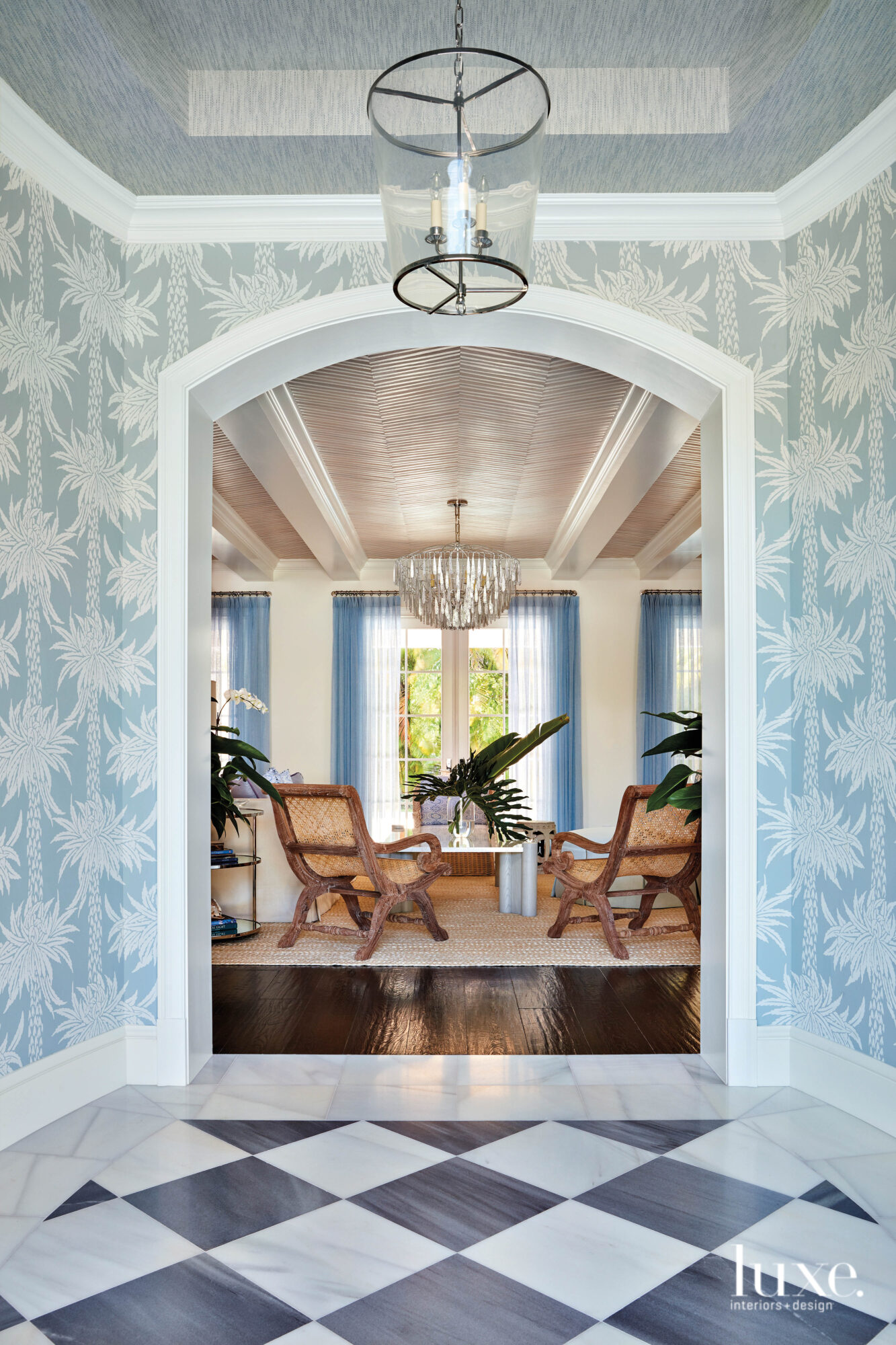 Foyer with blue and white...