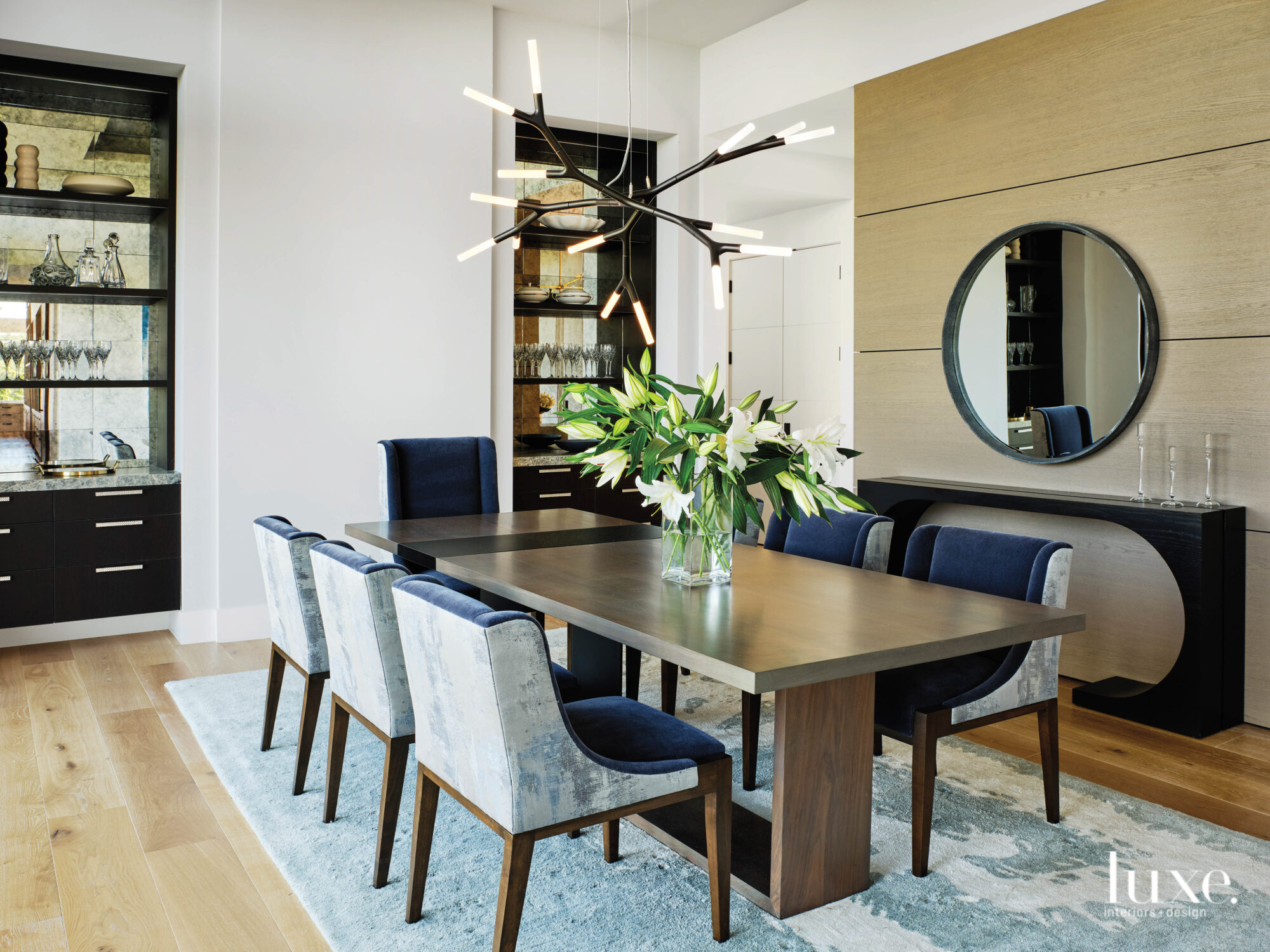 A dining room features a...