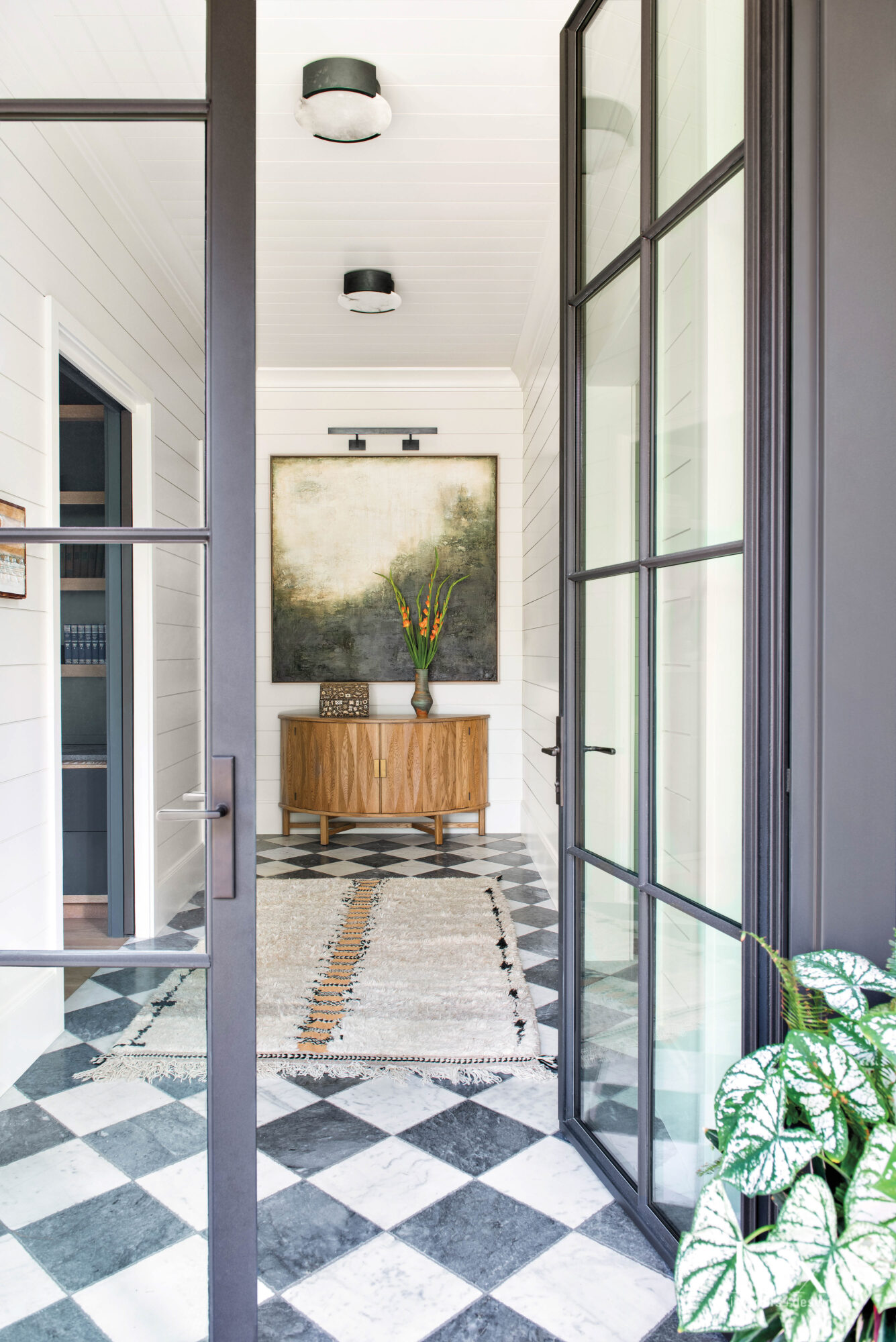 French doors opening to a...