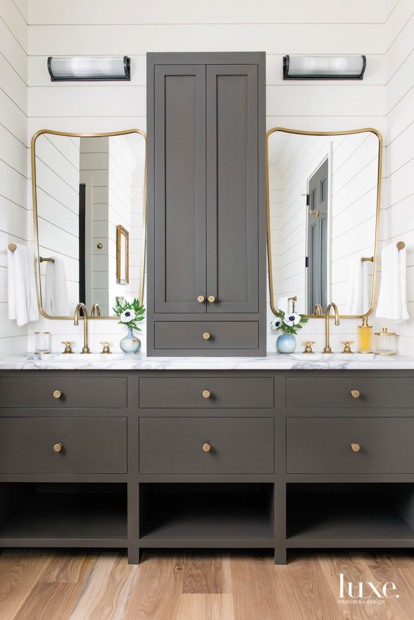 Dark gray bathroom vanity with...