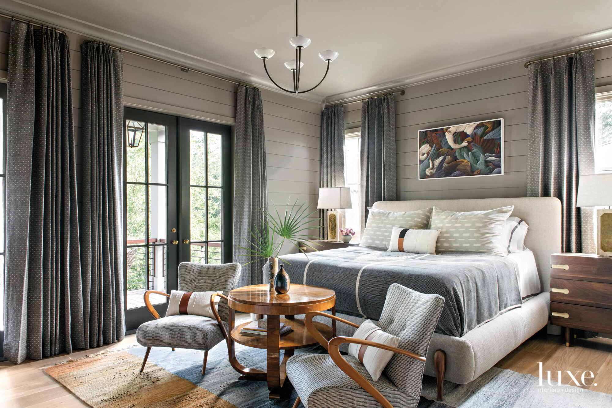 Gray bedroom with French doors...