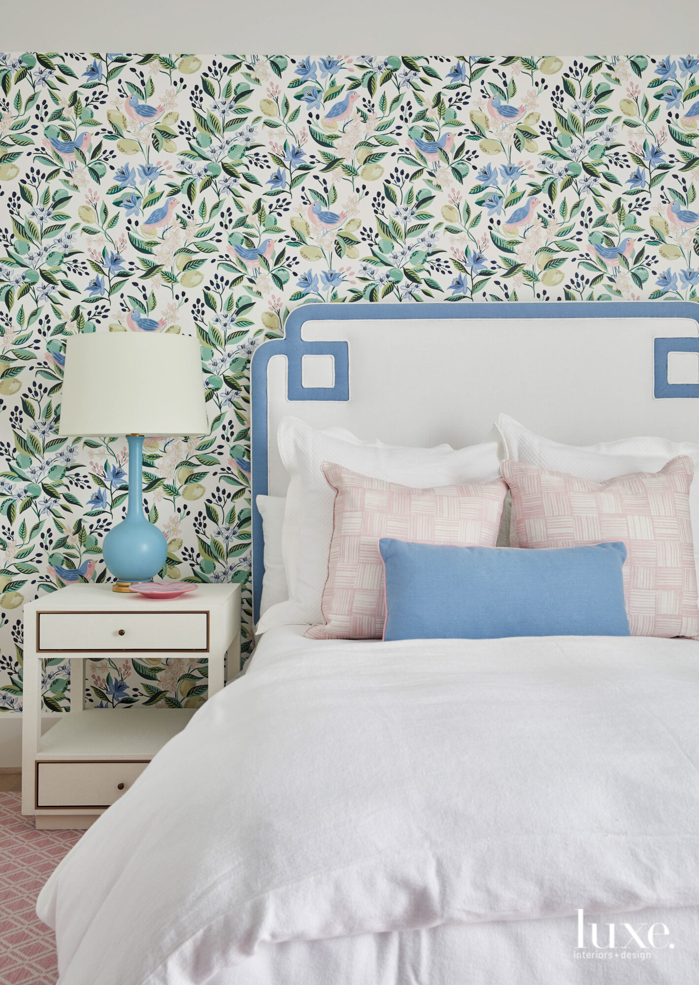 Children's bedroom with floral wallpaper