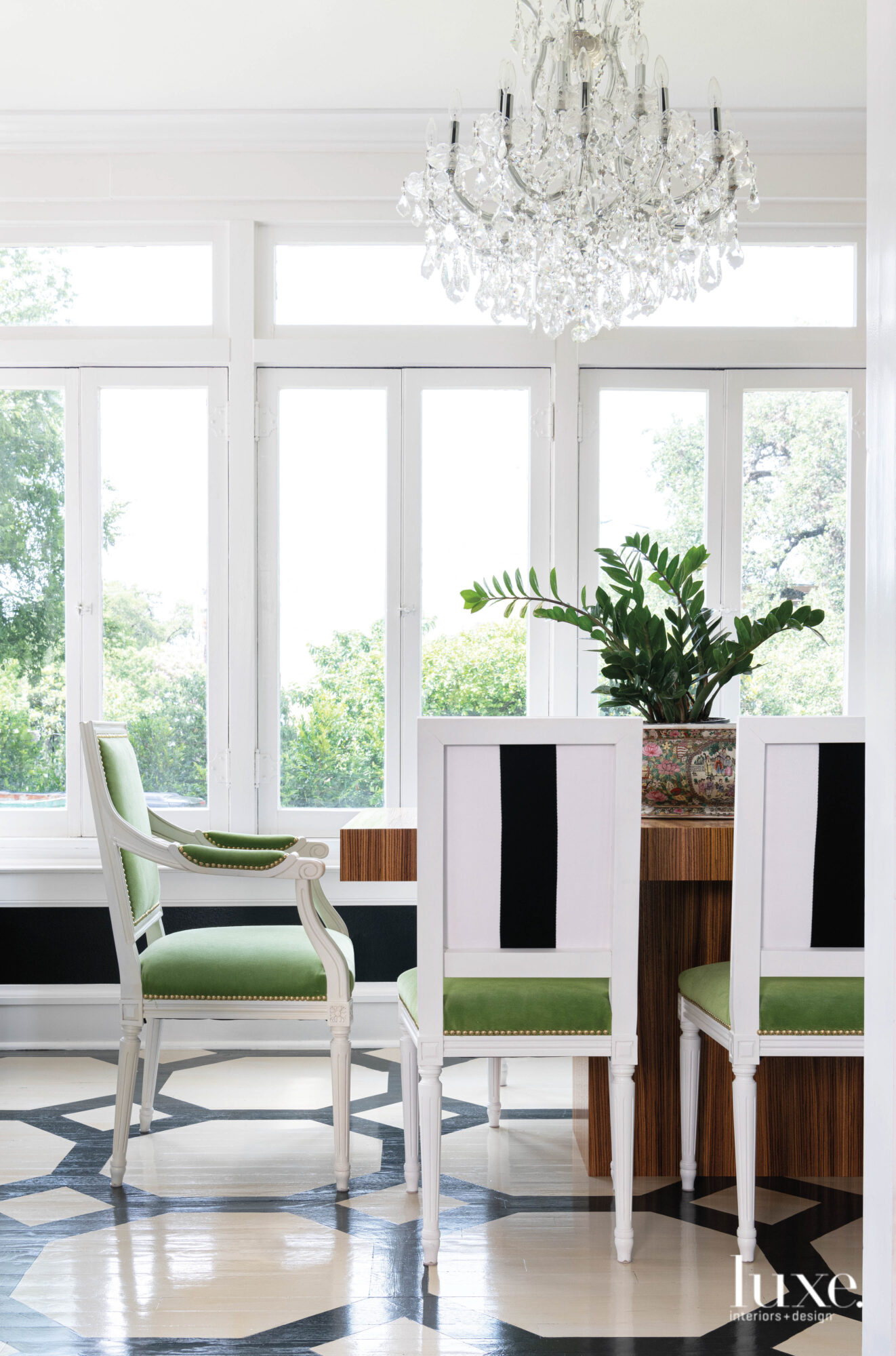 Bright dining room with painted...