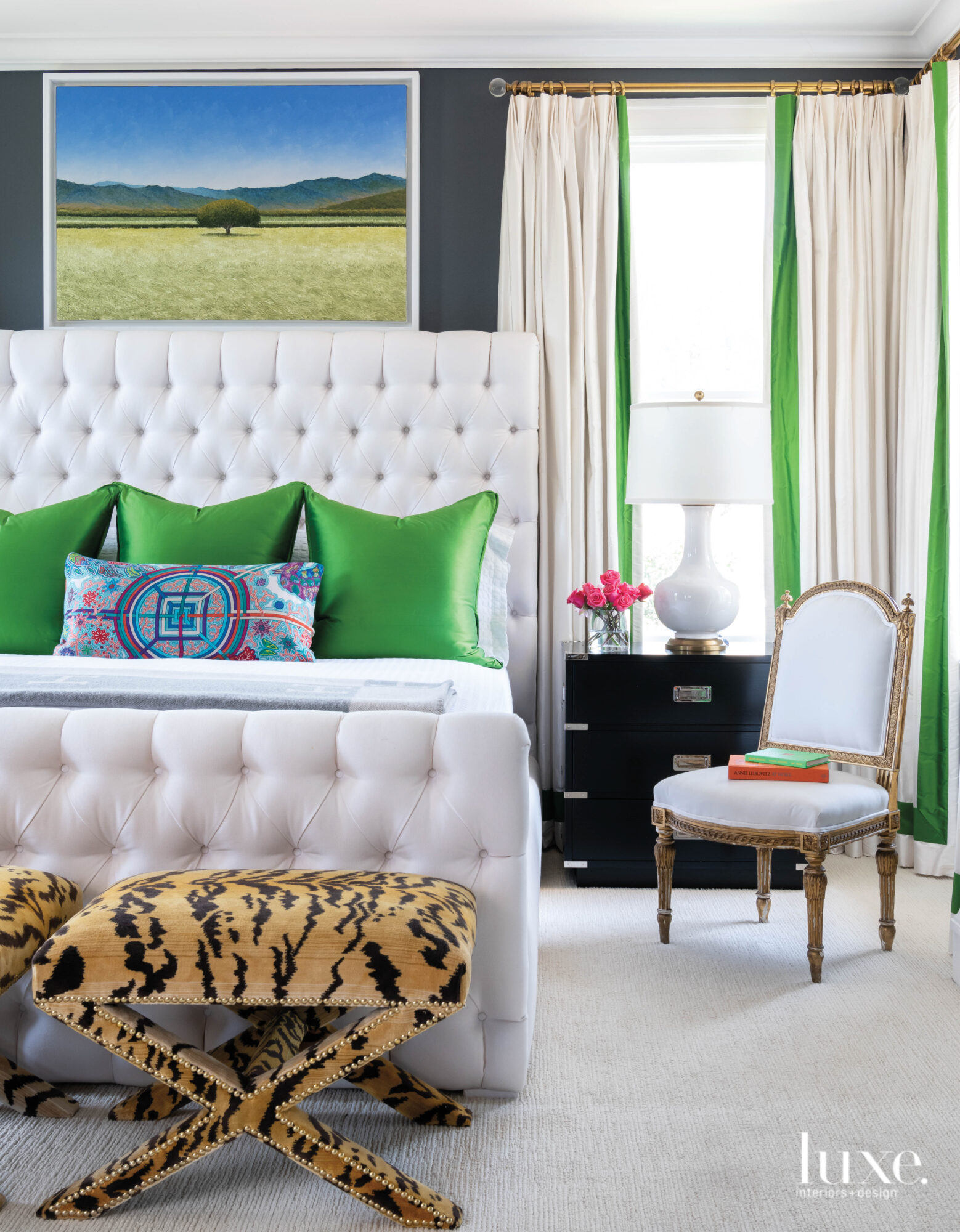 Master bedroom with Kelly green...