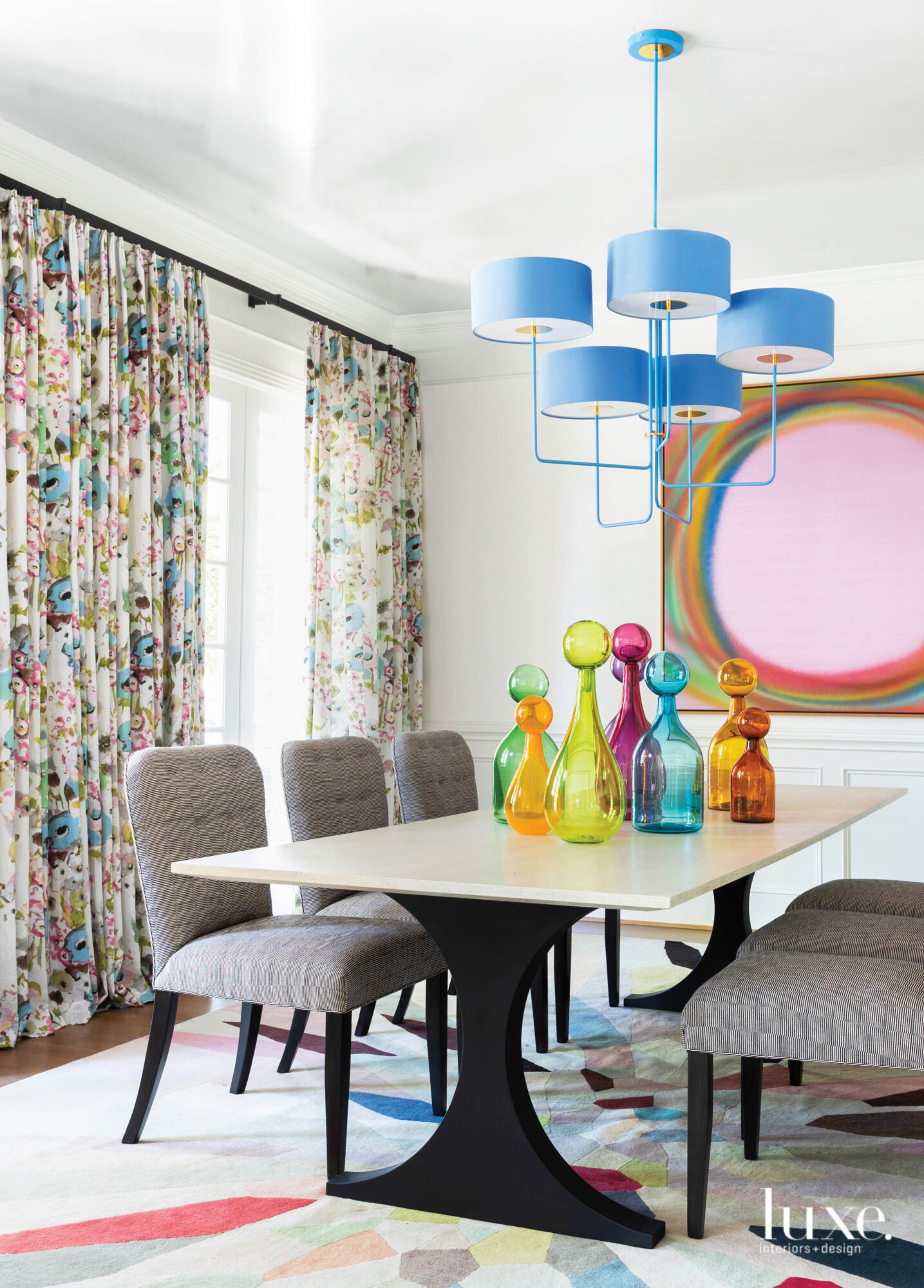 Bright dining room with colorful...