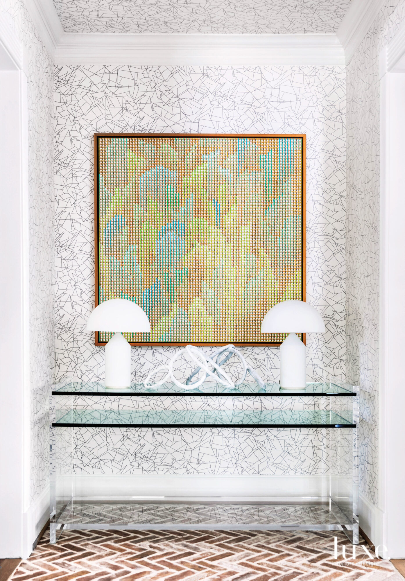 Foyer alcove with modern art