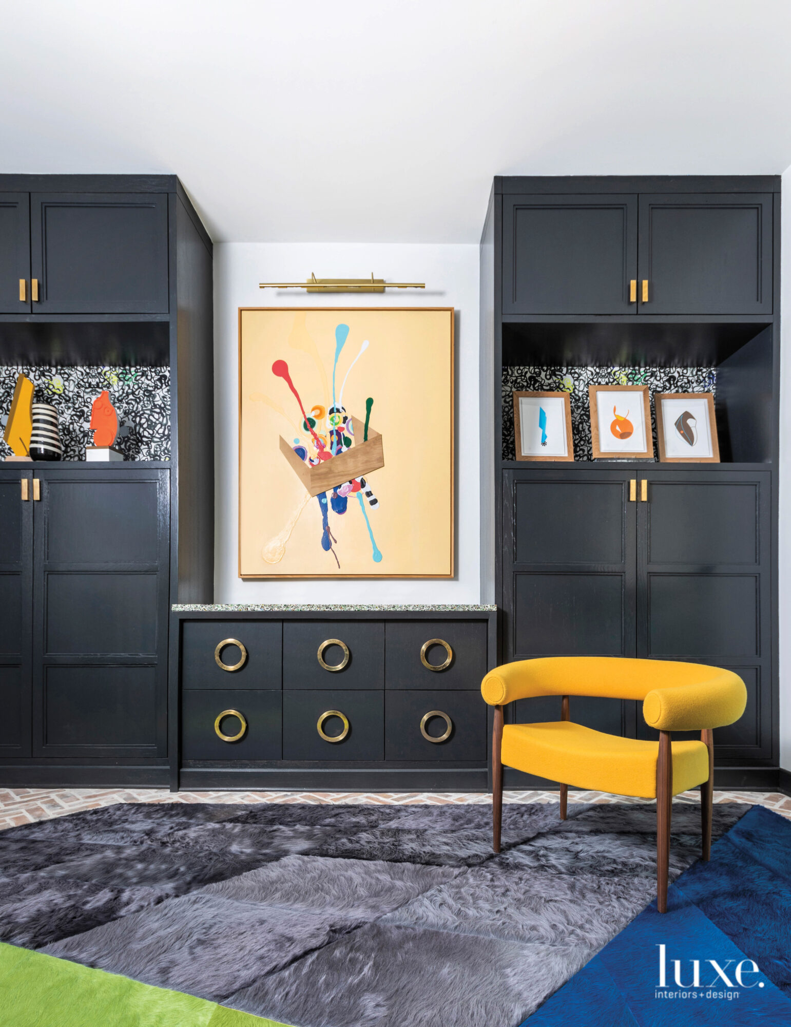 Darkly colored homework room cabinets