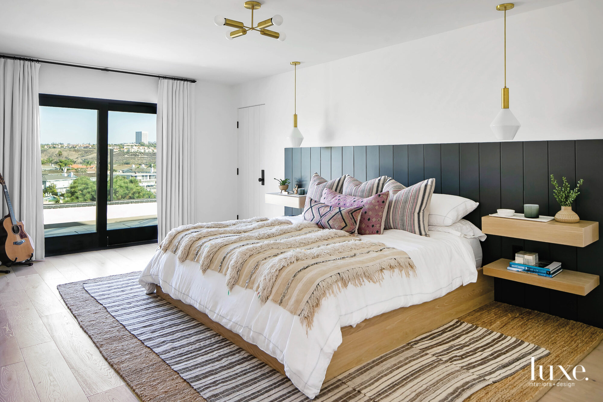 Master bedroom with statement headboard