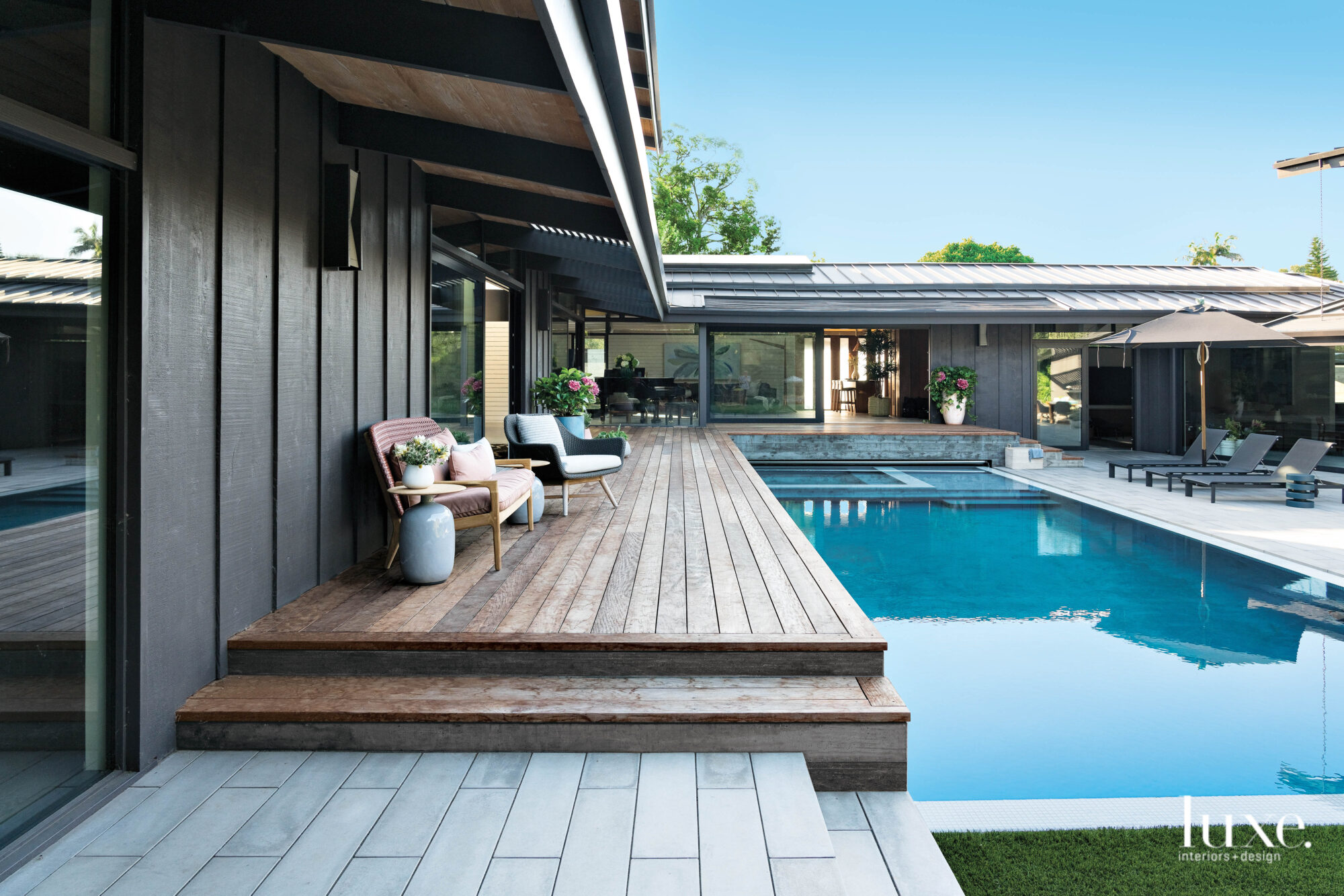 Terrace overlooking pool